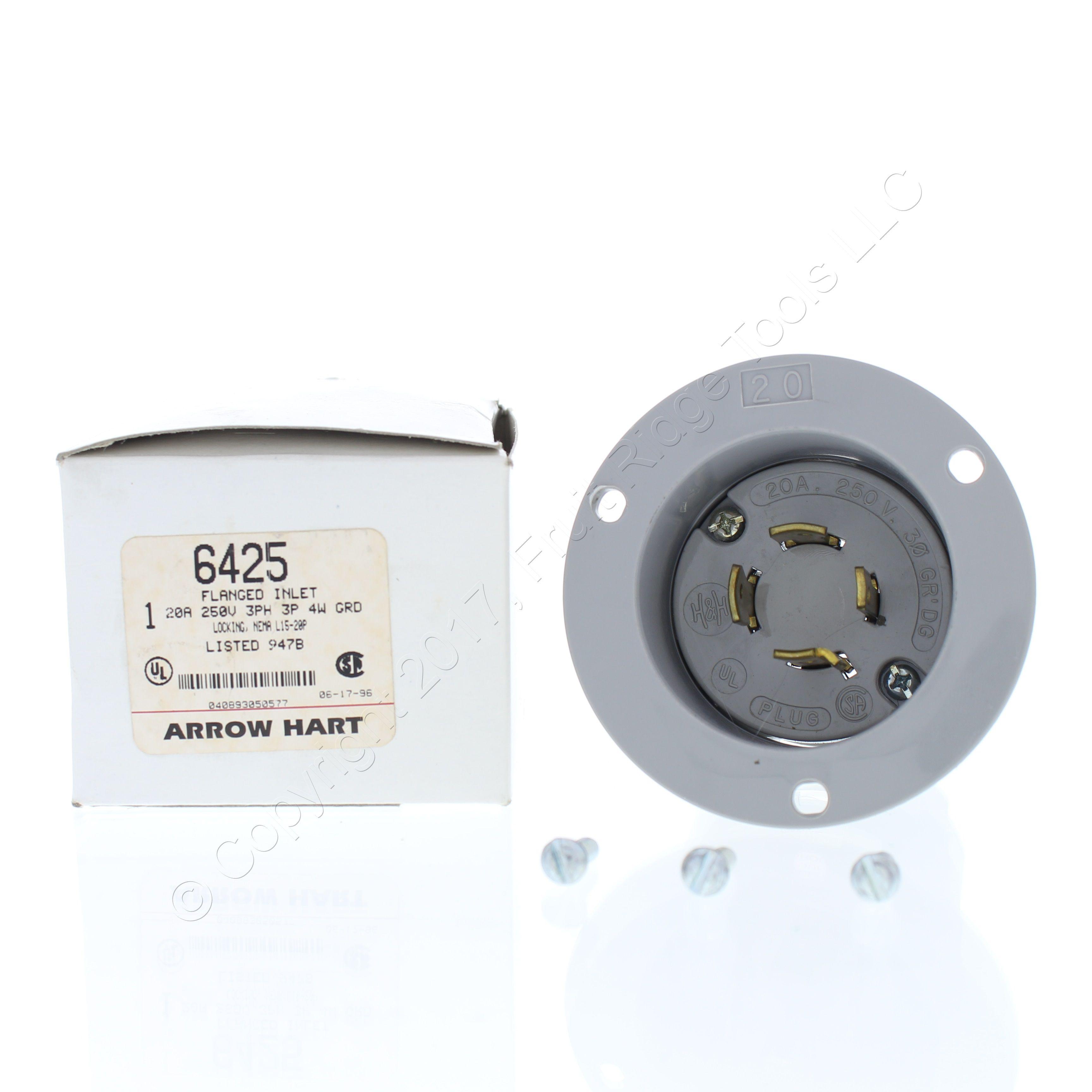 NEMA L15-20P Cooper Industrial Twist Turn Locking Plug 20A 250V 3Ø CWL1520P