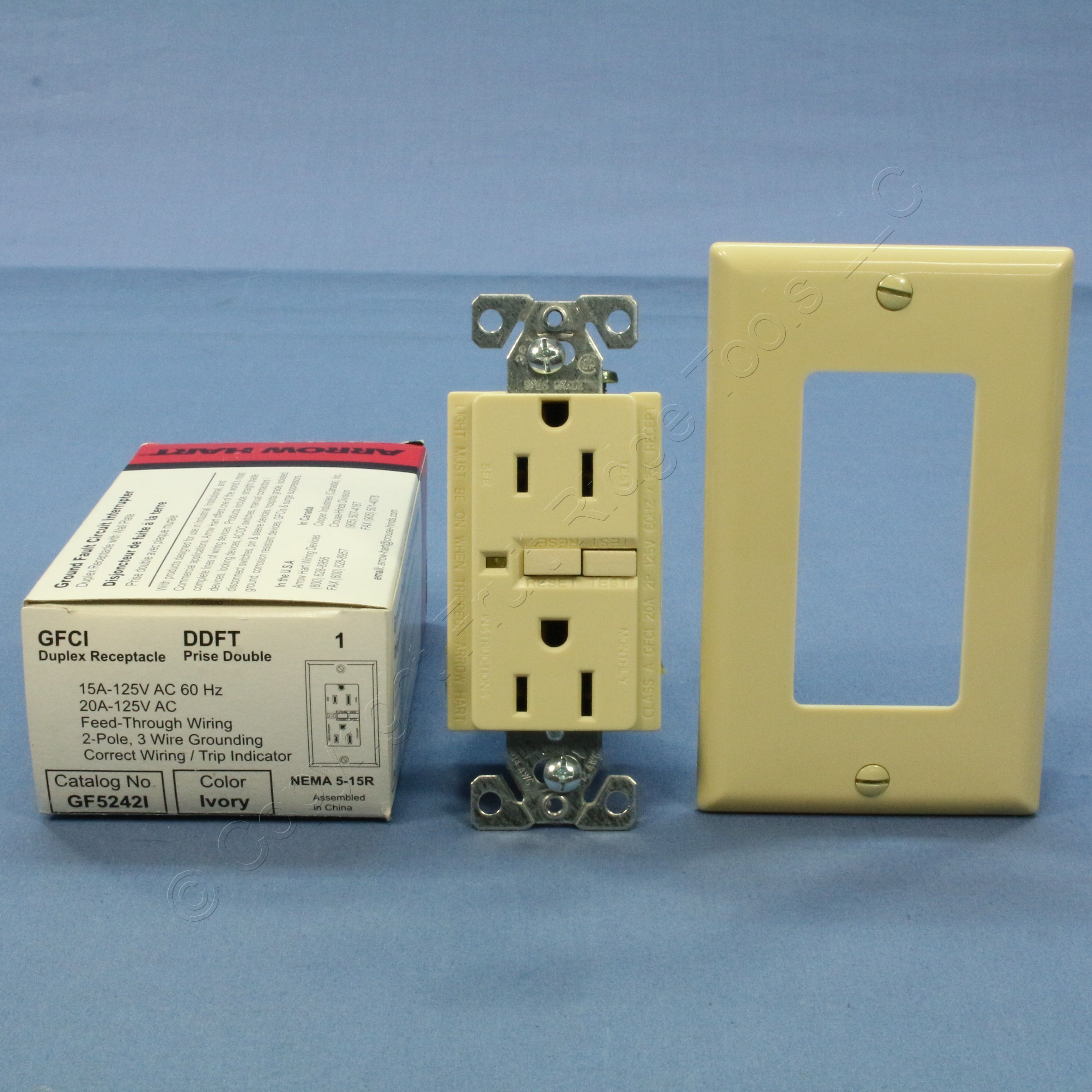 Arrow Hart Ivory LIGHTED GFCI Receptacle GFI Outlet 5-15R 15A 125V ...