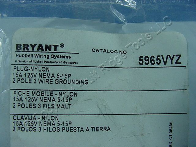 Buy Bryant Yellow Cobra INDUSTRIAL Nylon Straight Blade Plug 5-15P ...