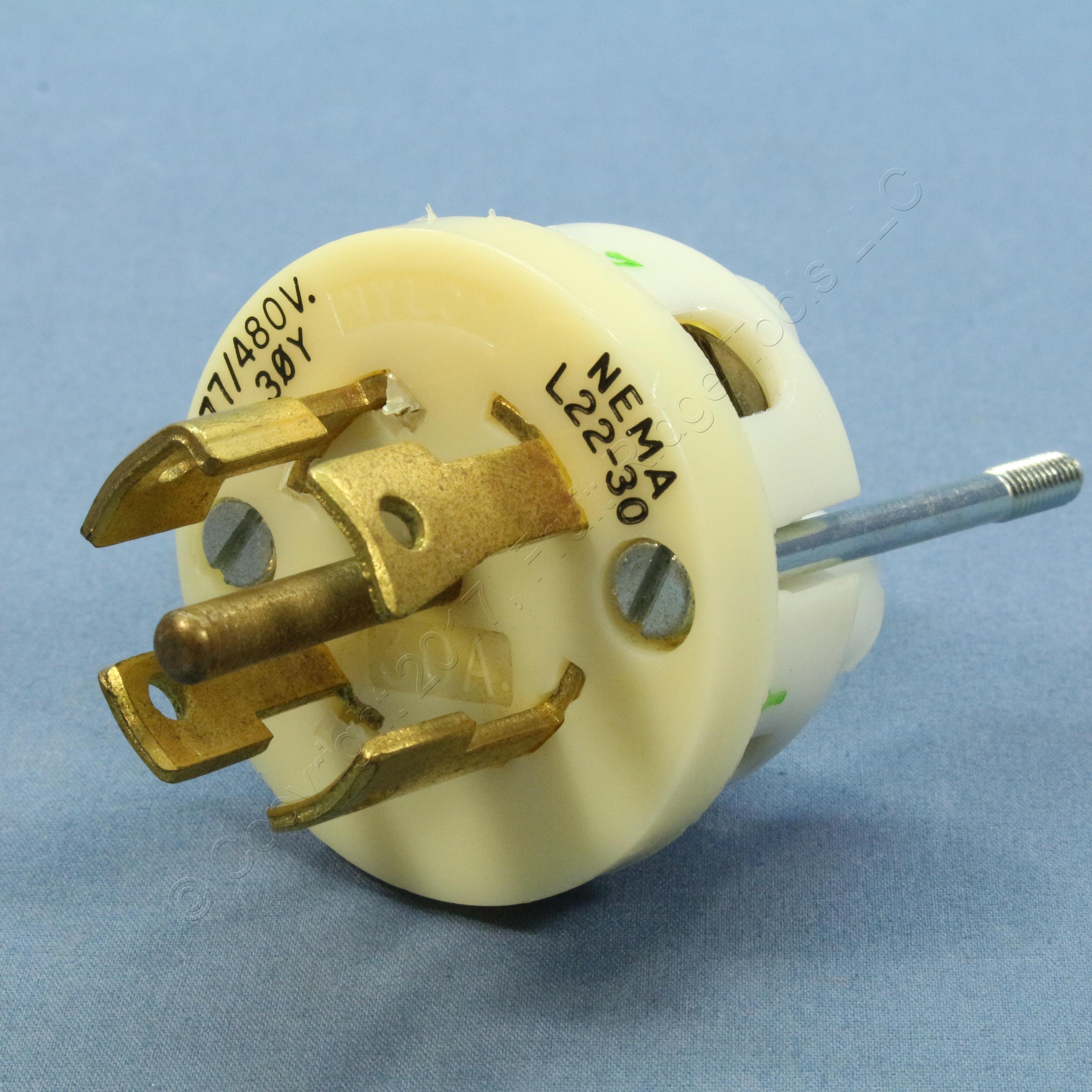 Bryant Turn Twist Locking Industrial Plug NEMA L22-30P 30A 277//480V 3ØY 72230NP
