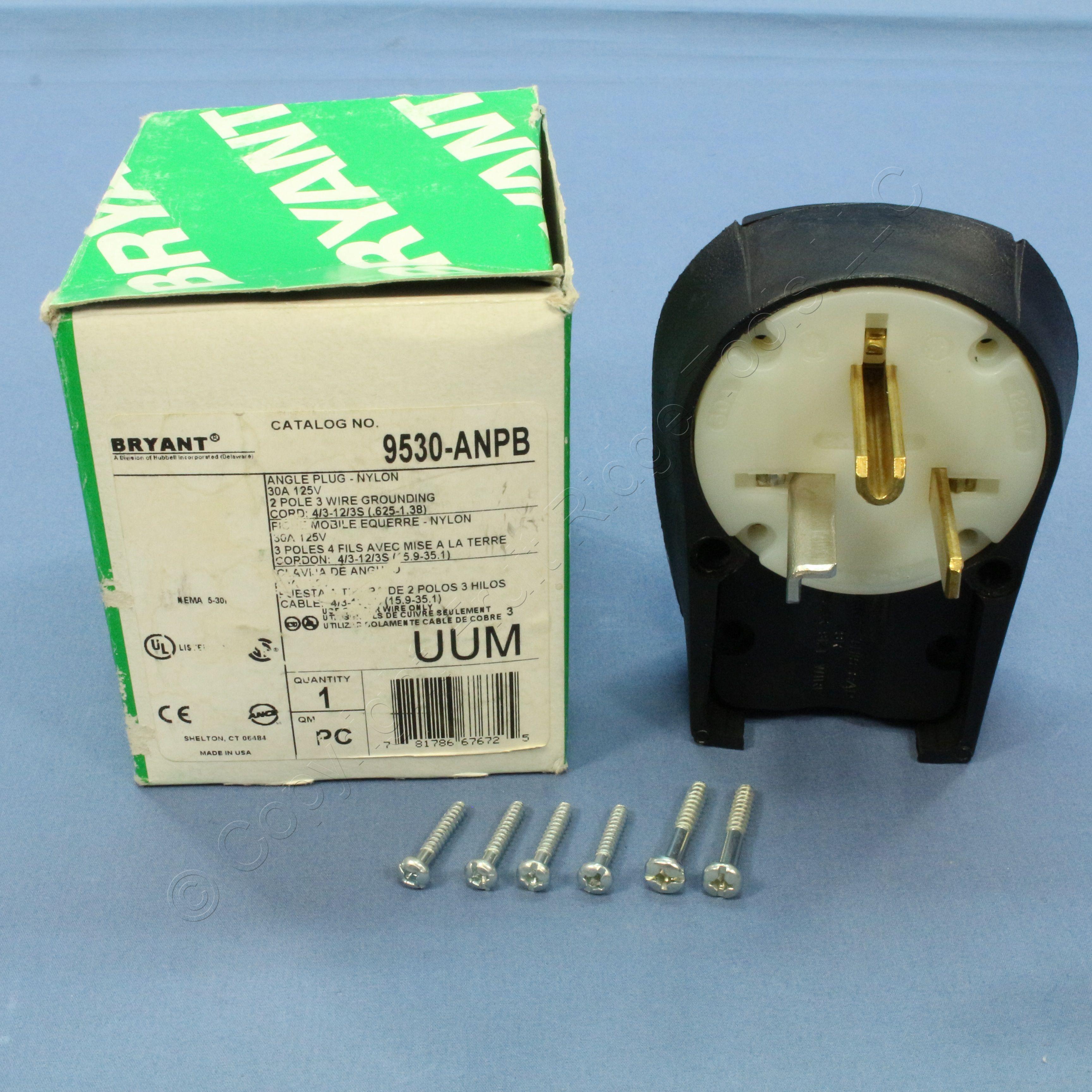 Buy Bryant INDUSTRIAL Grade Straight Blade Angle Plug NEMA 5-30P 30A ...