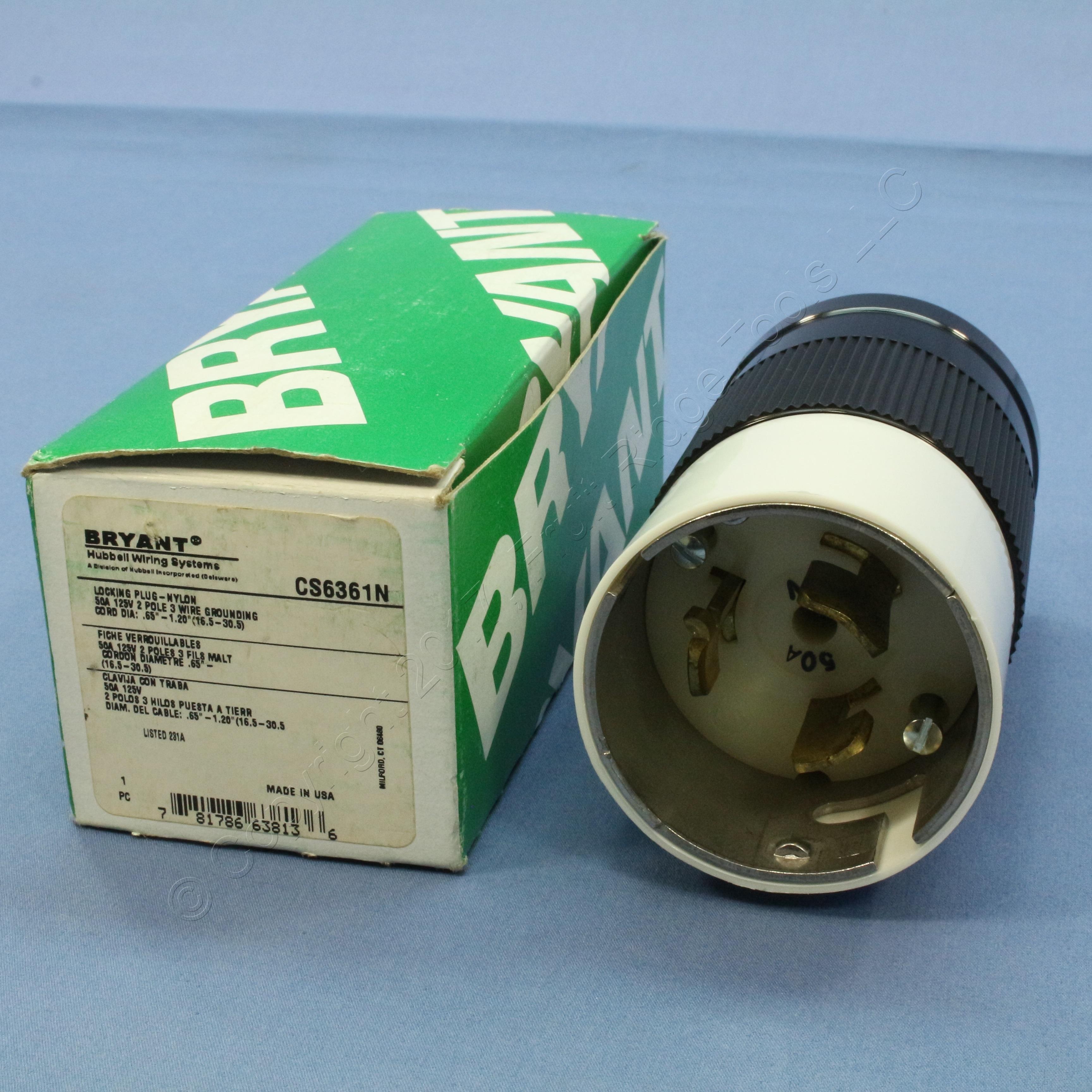 New Bryant Twist Turn Locking Connector Plug Non-NEMA 50A 125V ...
