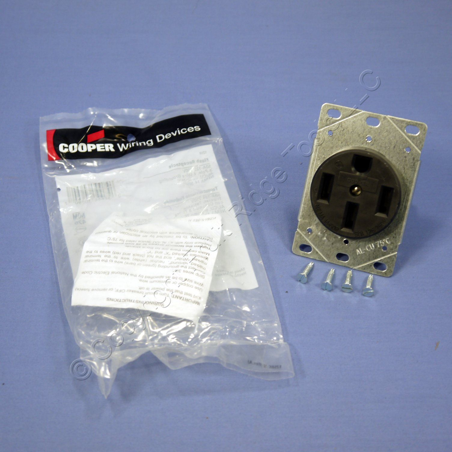 Cooper Flush Range Receptacle Oven Stove Outlet 50a 125 250v 14 50r Wiring Devices 50amp Flushmount Appliance Electrical 1258 Bagged