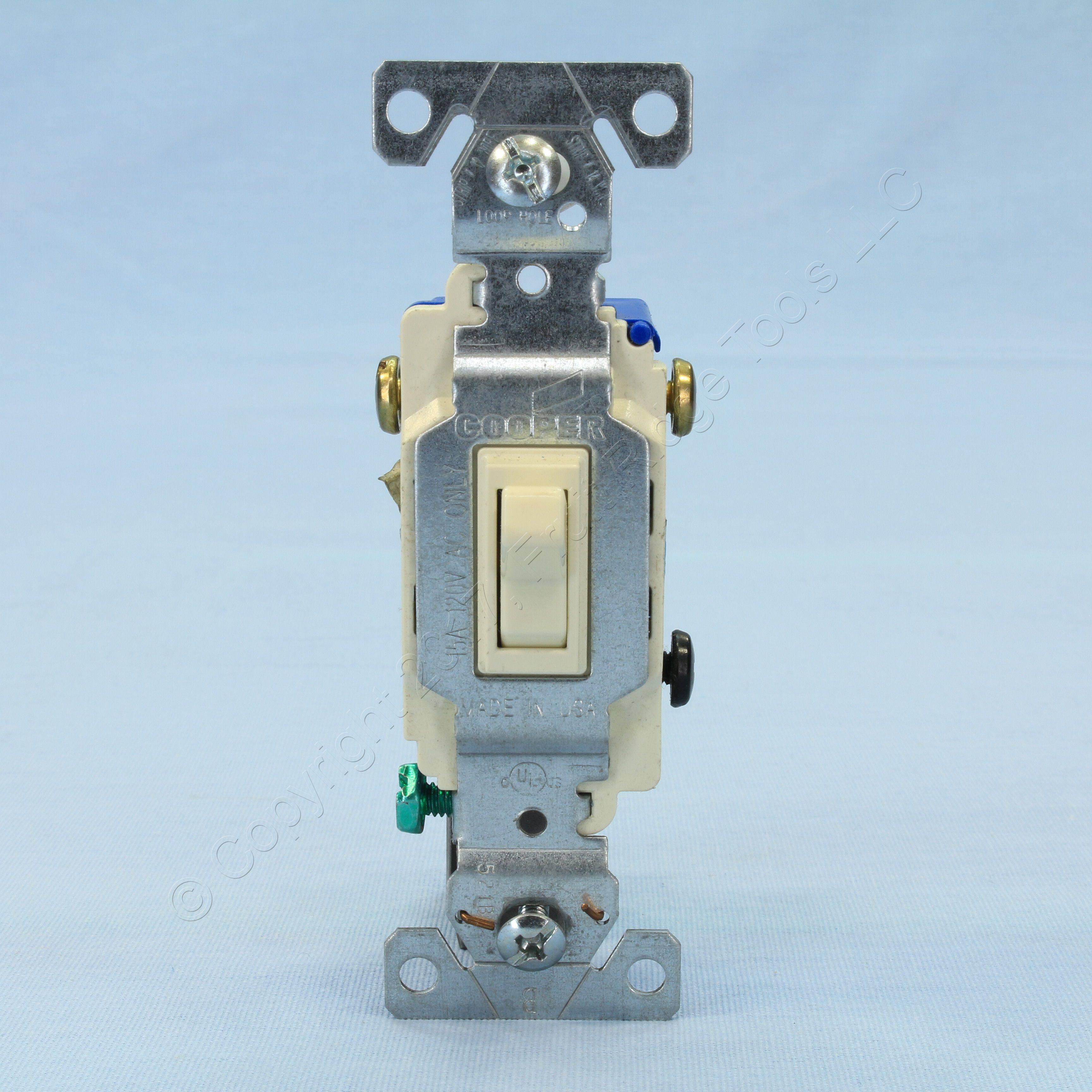 cooper single pole toggle light switch auto grounding 3 way 15a 120v