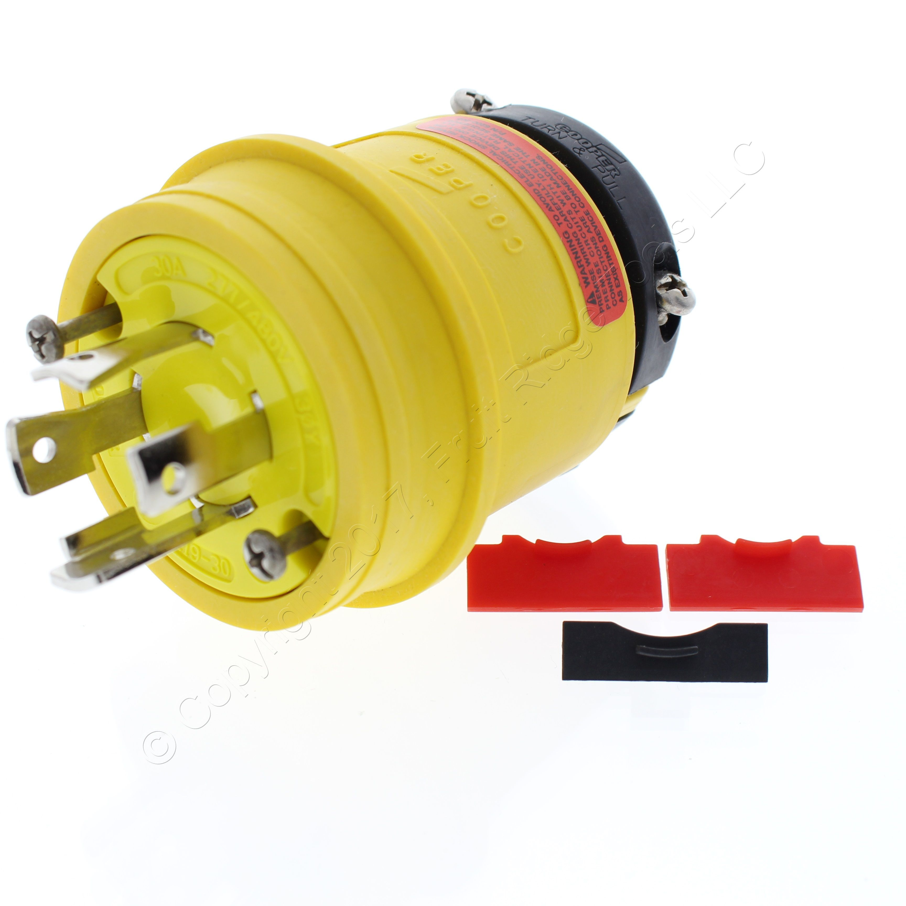 Cooper Watertight 30a 277 480v 3 Phase 4 Pole Yellow Locking Wire Wiring Connector 1930py