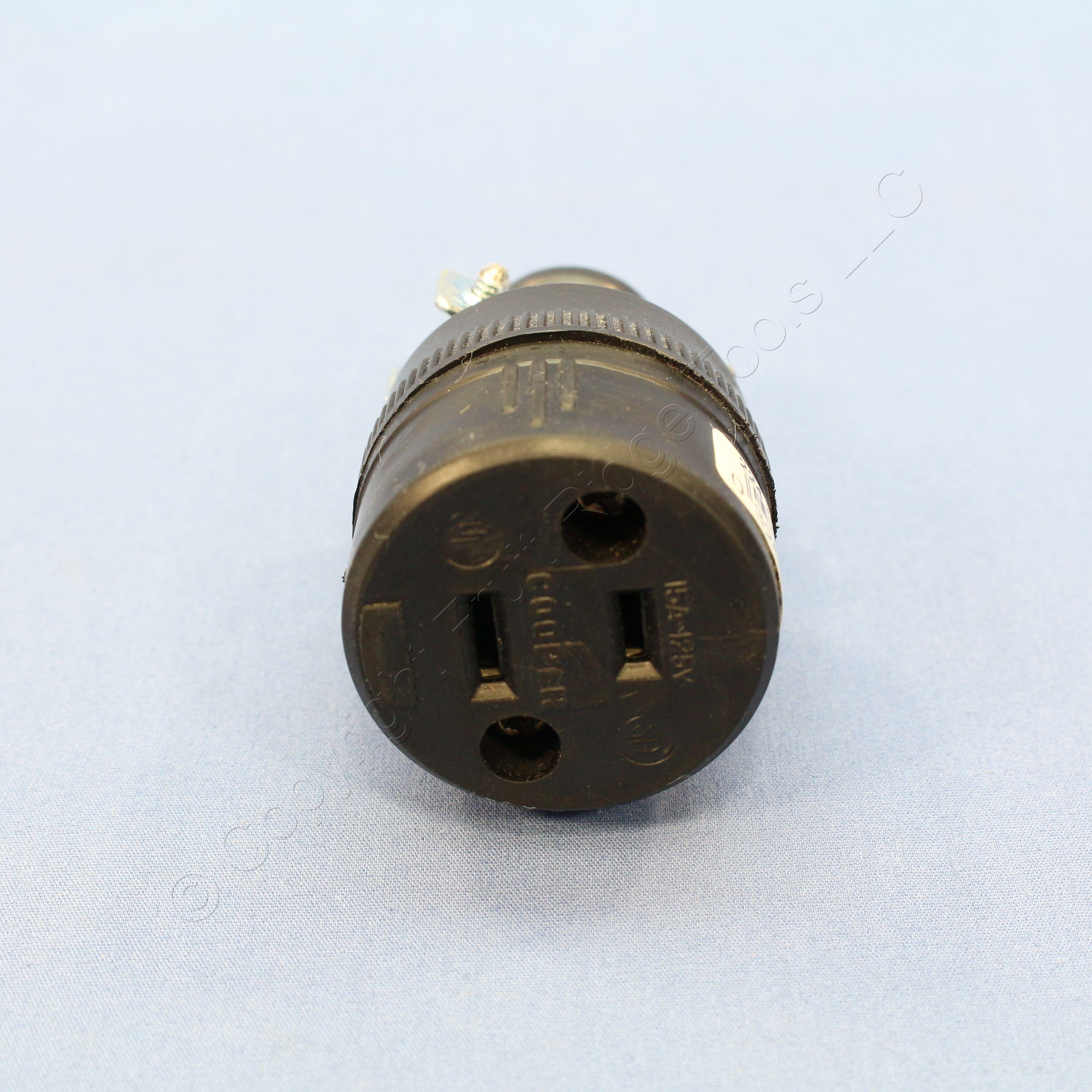 10 Cooper Thermoplastic Straight Blade Rubber Connectors 15A 125V NEMA 1-15R 224