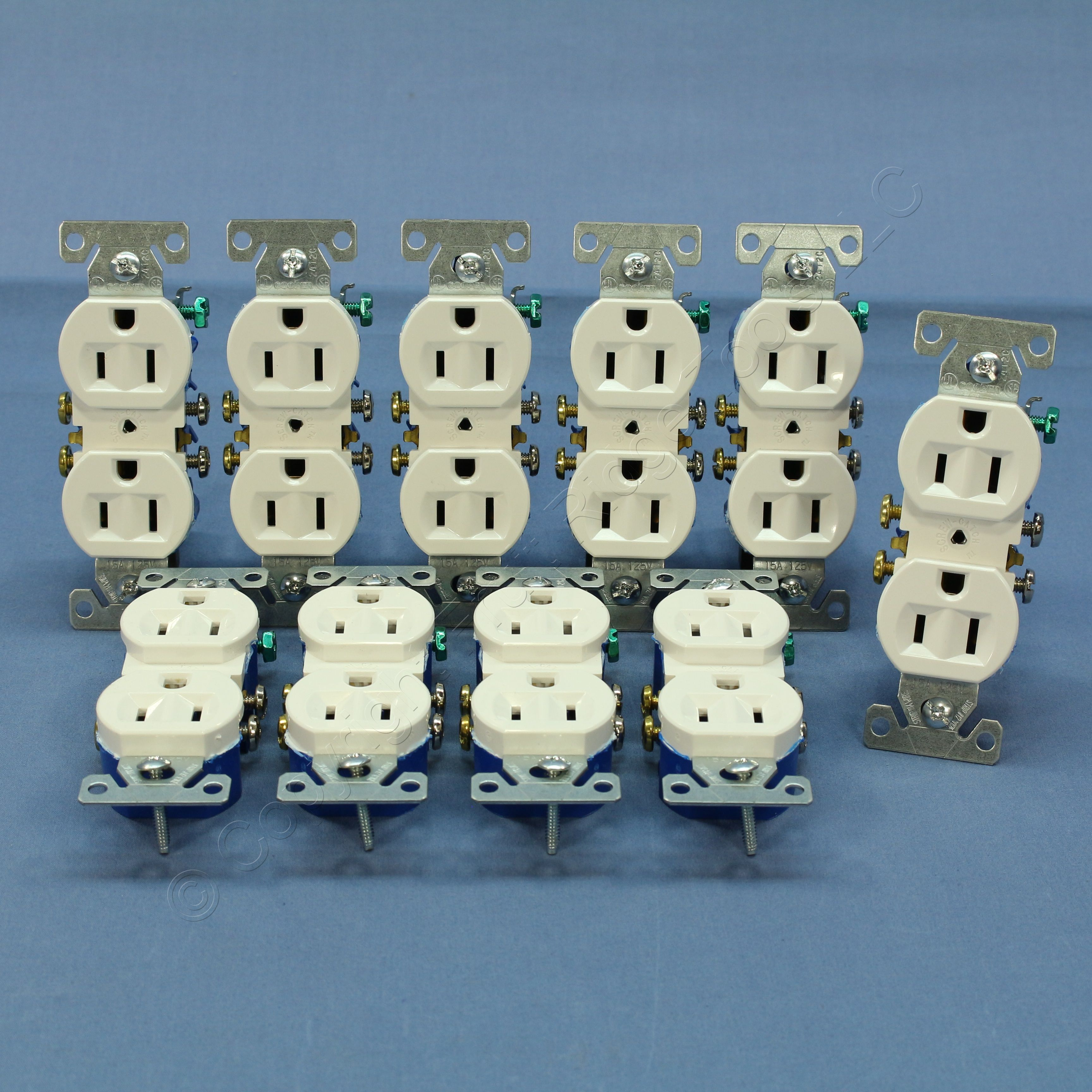 10 Cooper White Residential Duplex Outlet Receptacles NEMA 5-15R 15A ...