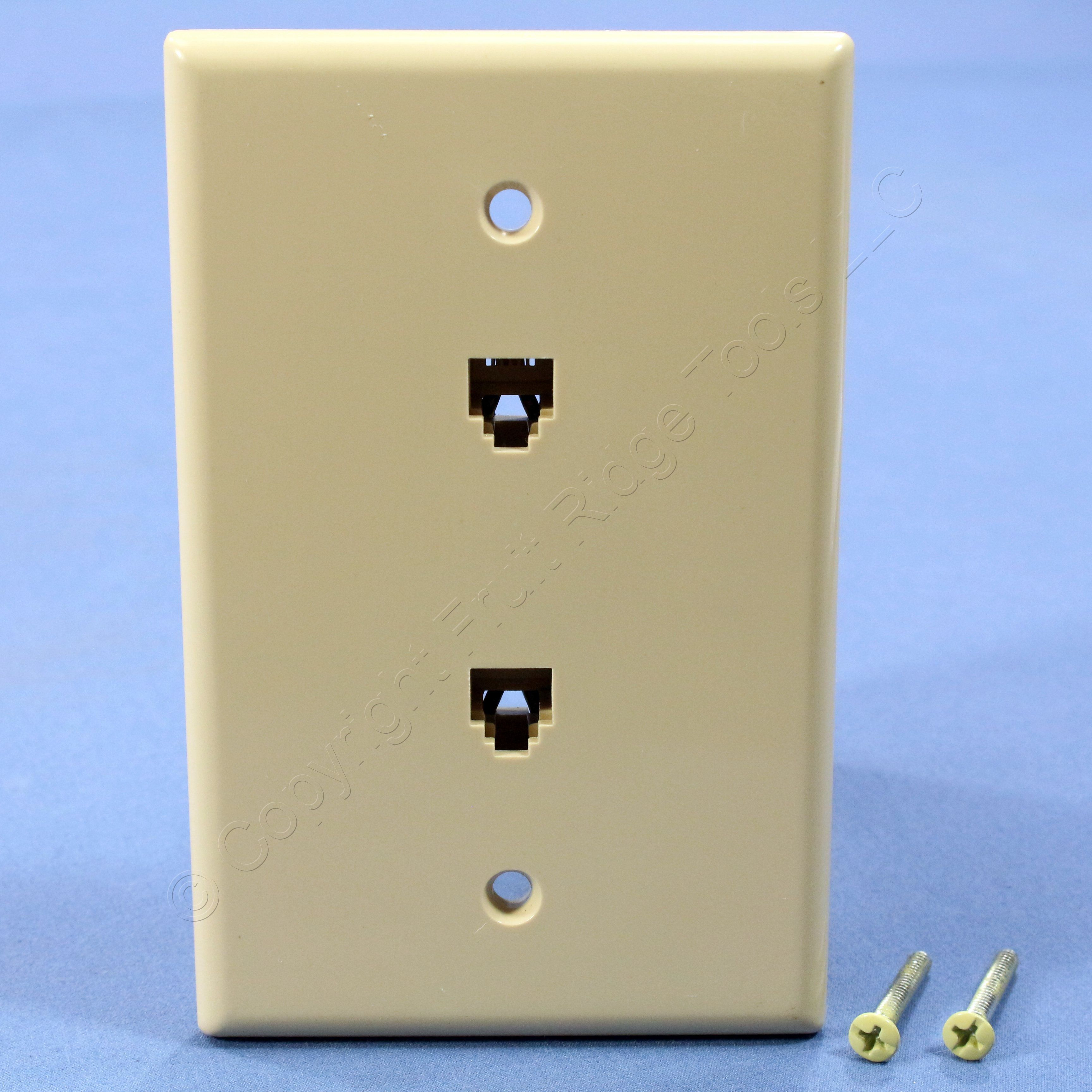 Cooper Ivory Mid Size Flush 4 Conductor Two Telephone Jack Wallplate Rj 14 Wiring 3547 4v