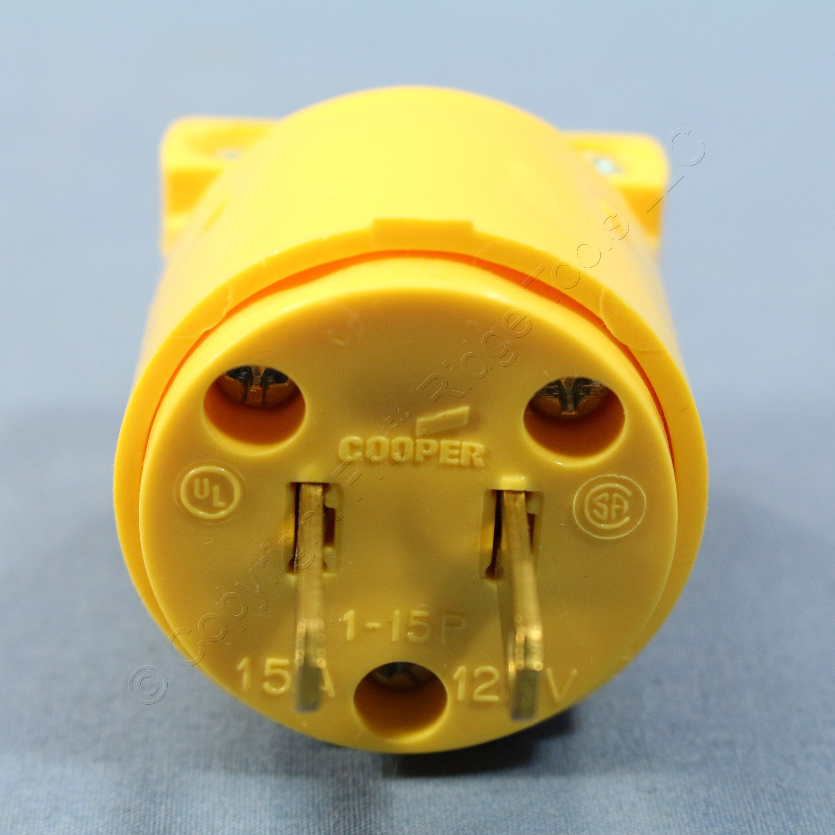 Cooper Yellow Vinyl Straight Blade Plug 15a 125v Nema 1 15p No Wiring Devices 20amp 125volt 3wire Grounding Ground Bulk 4862