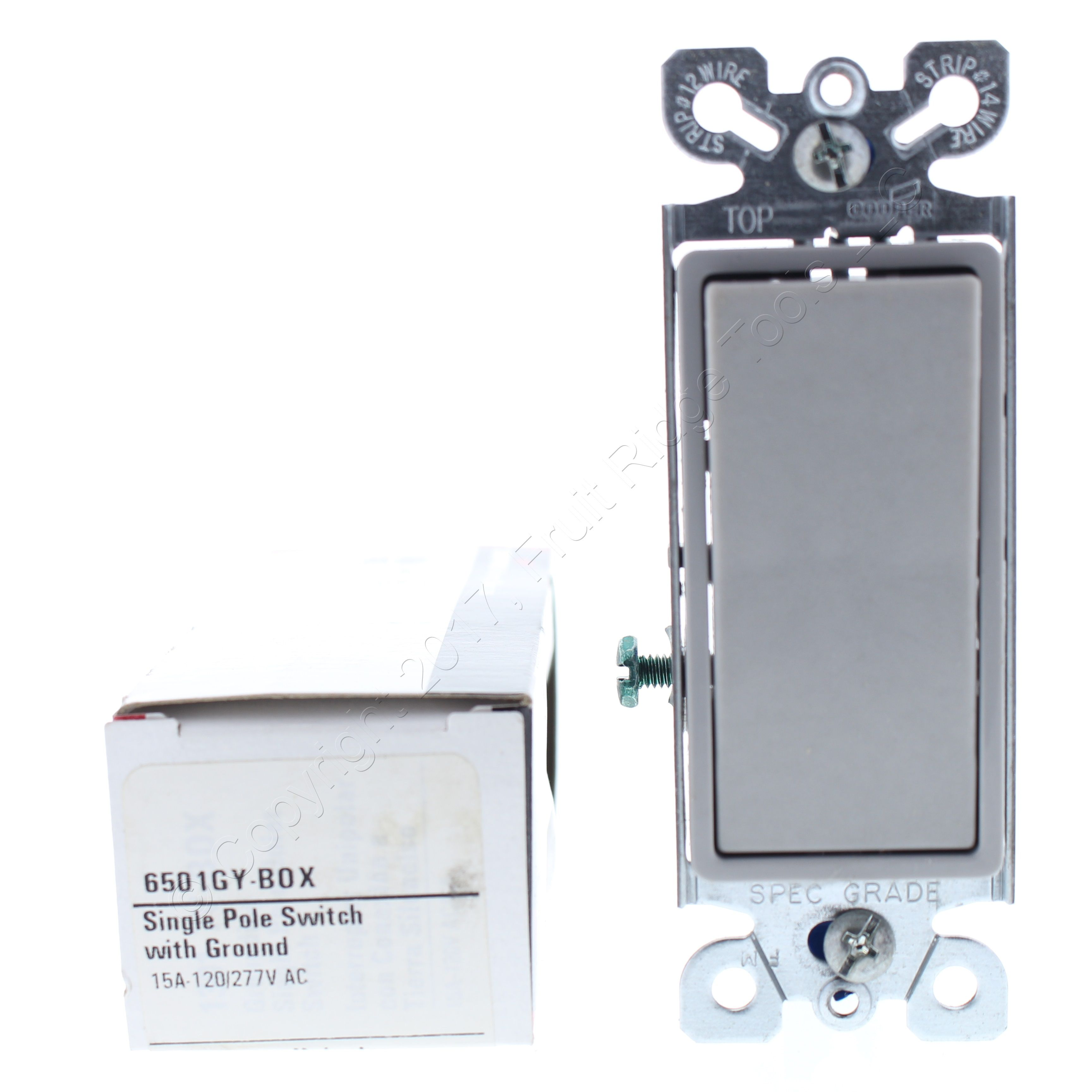 Cooper Gray On/off Single Pole Decorator Rocker Wall Light Switch ...
