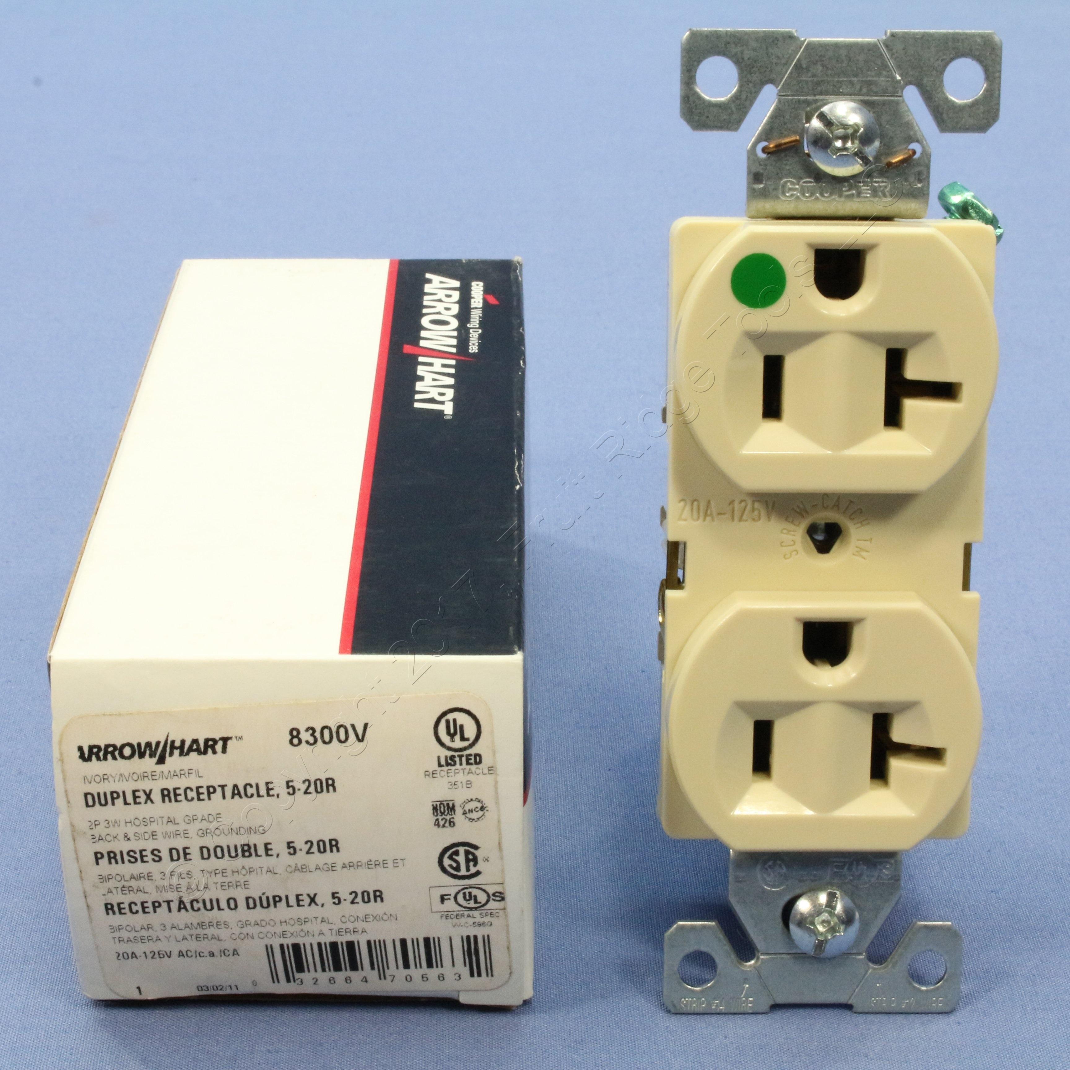 Cooper Ivory Hospital Grade Duplex Receptacle Outlets Nema 5 20r 20a Wiring Electrical Wall 125v 8300v