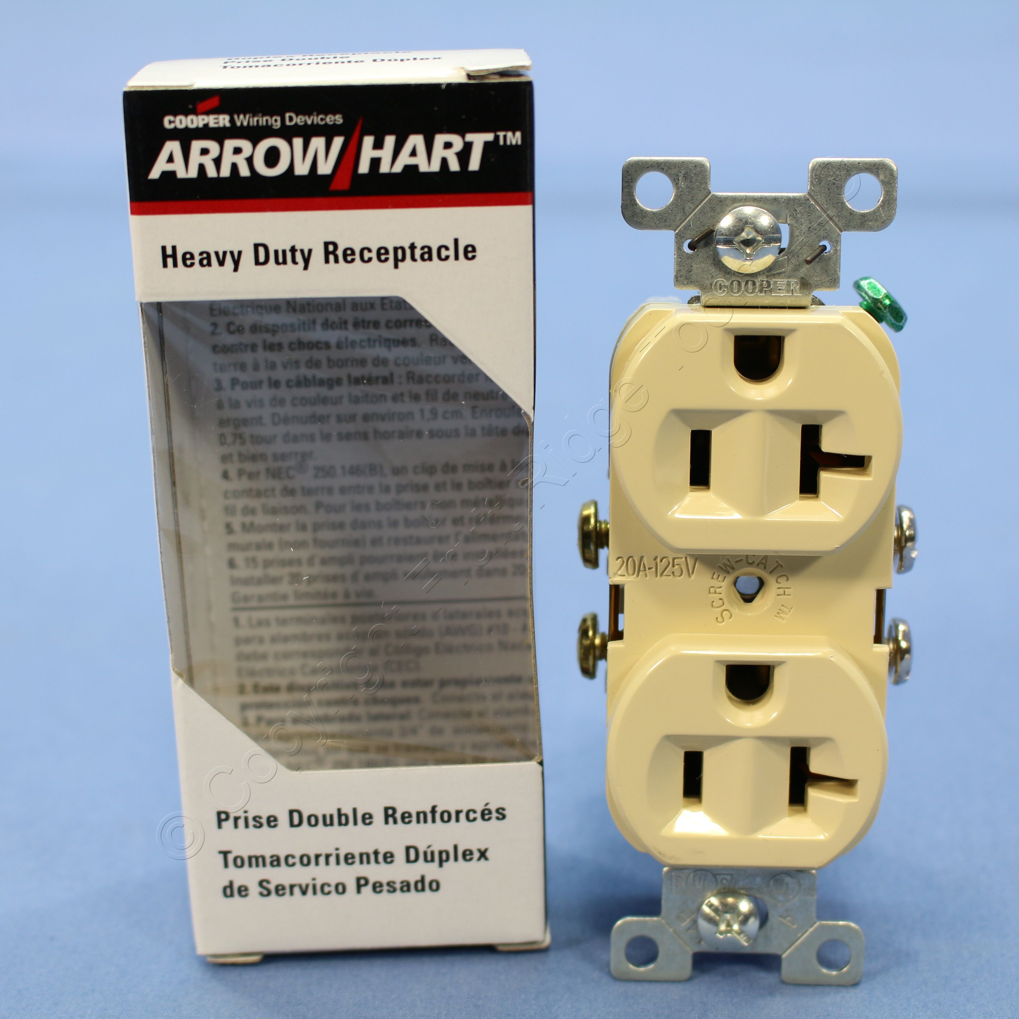 Cooper Ivory Commercial Outlet Duplex Receptacle Nema 5 20r 20a 125v Wiring Two Outlets Double 877v Boxed