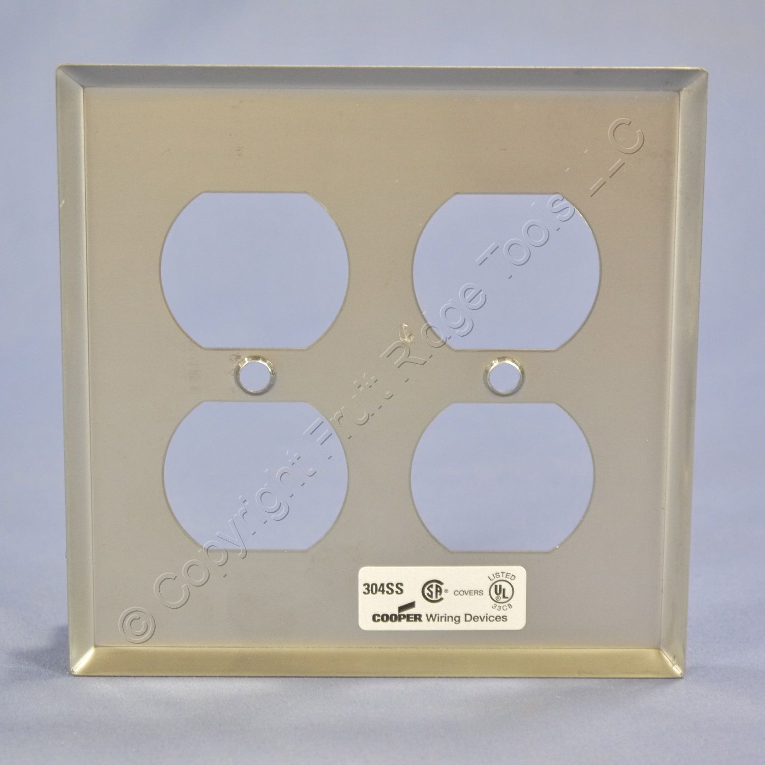 Cooper 93102 Stainless Steel Wallplate 2g Double Duplex Receptacle Wiring Outlet Picture 2 Of 3