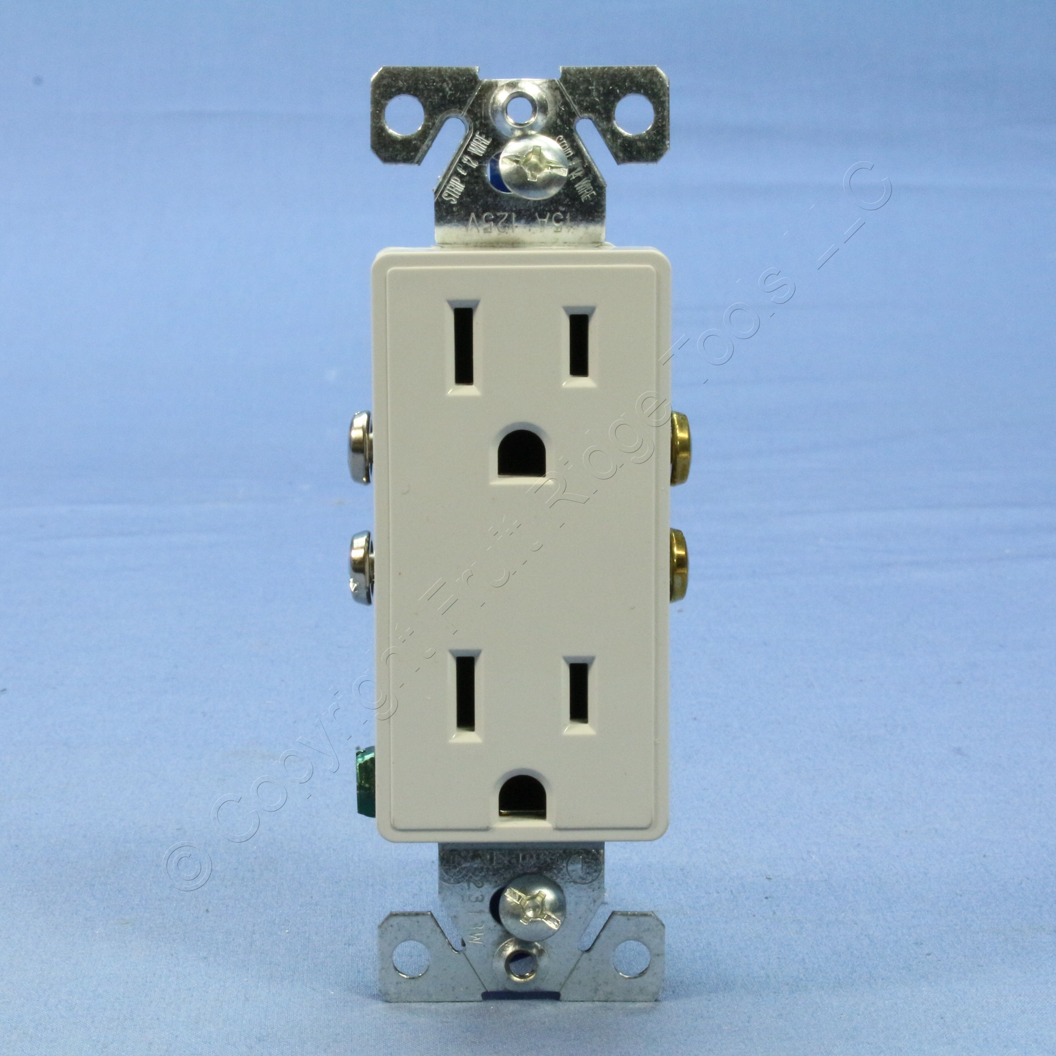 Pale Gray Decorator Receptacle Outlet 5-15R 9505WS Cooper Aspire White Satin