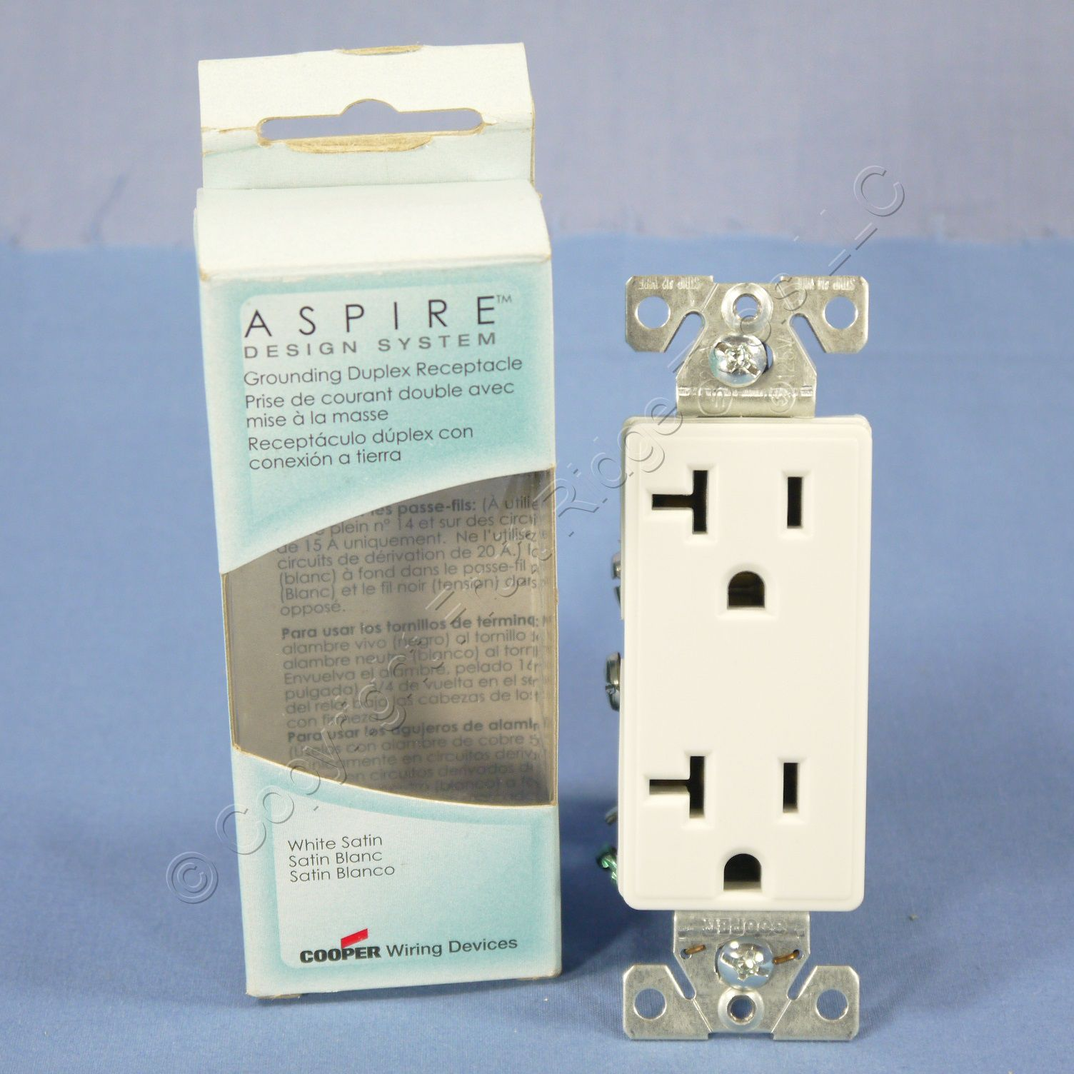 Buy Cooper Aspire White Satin (Pale Gray) Decorator Receptacle ...