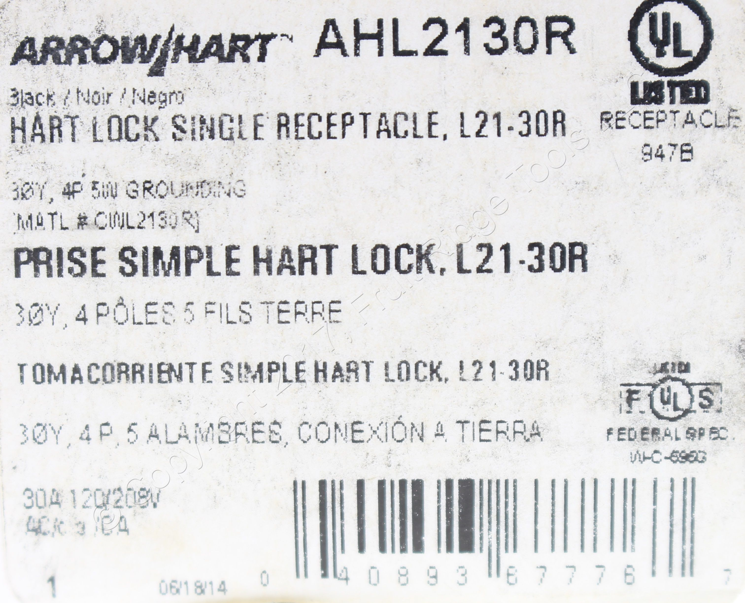 ARROW HART  AHL2130R NEMA L21-30R 30A 120//208V Hart-Lock Locking Receptacle