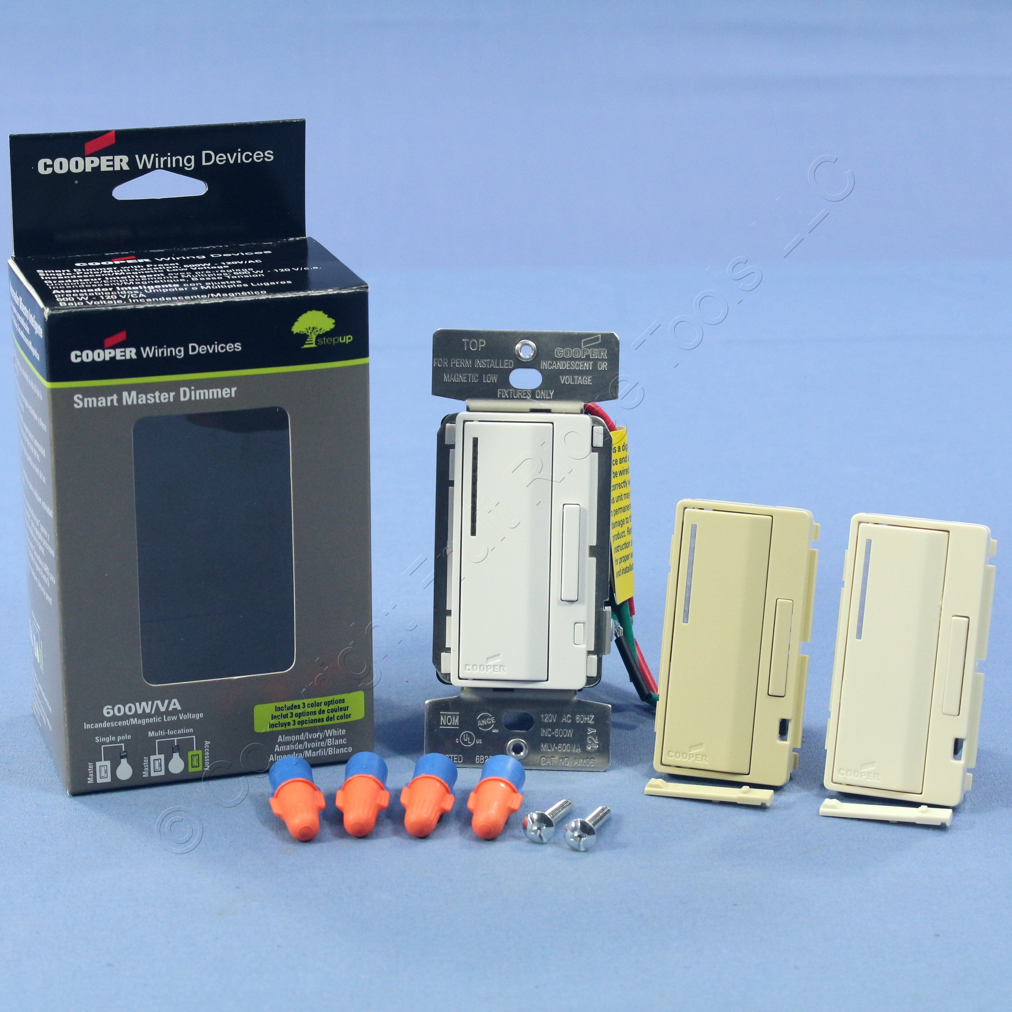 White Ivory Almond Smart Master Dimmer Preset Light Switch Multi-Way ...