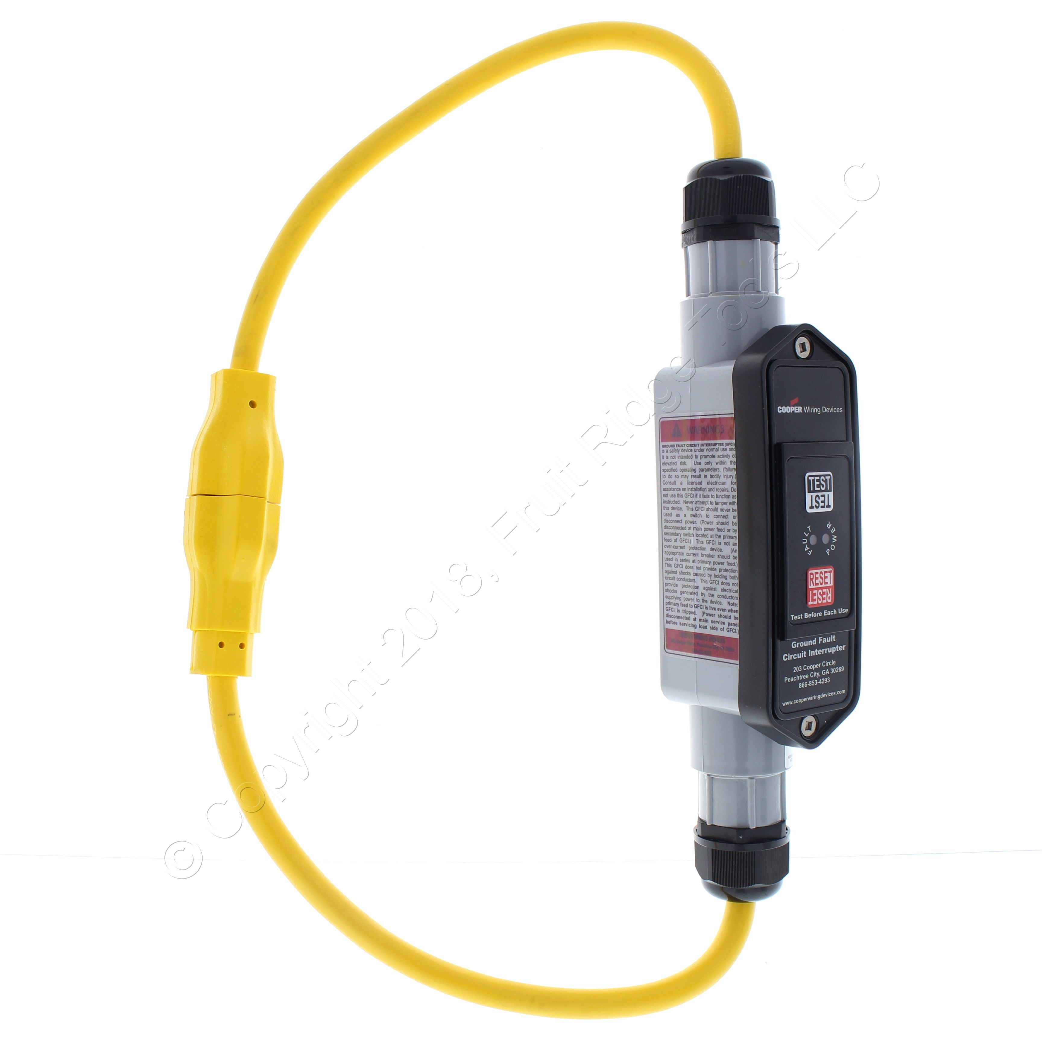 Shop Cooper Industrial Grade In Line 2ft Portable Gfci 12 3 Groundfault Circuit Interrupter Protects From Electric Shock Cordset Nema 4x 20a 120v Pc Mold Automatic Gfi12a133 Fruit Ridge Tools