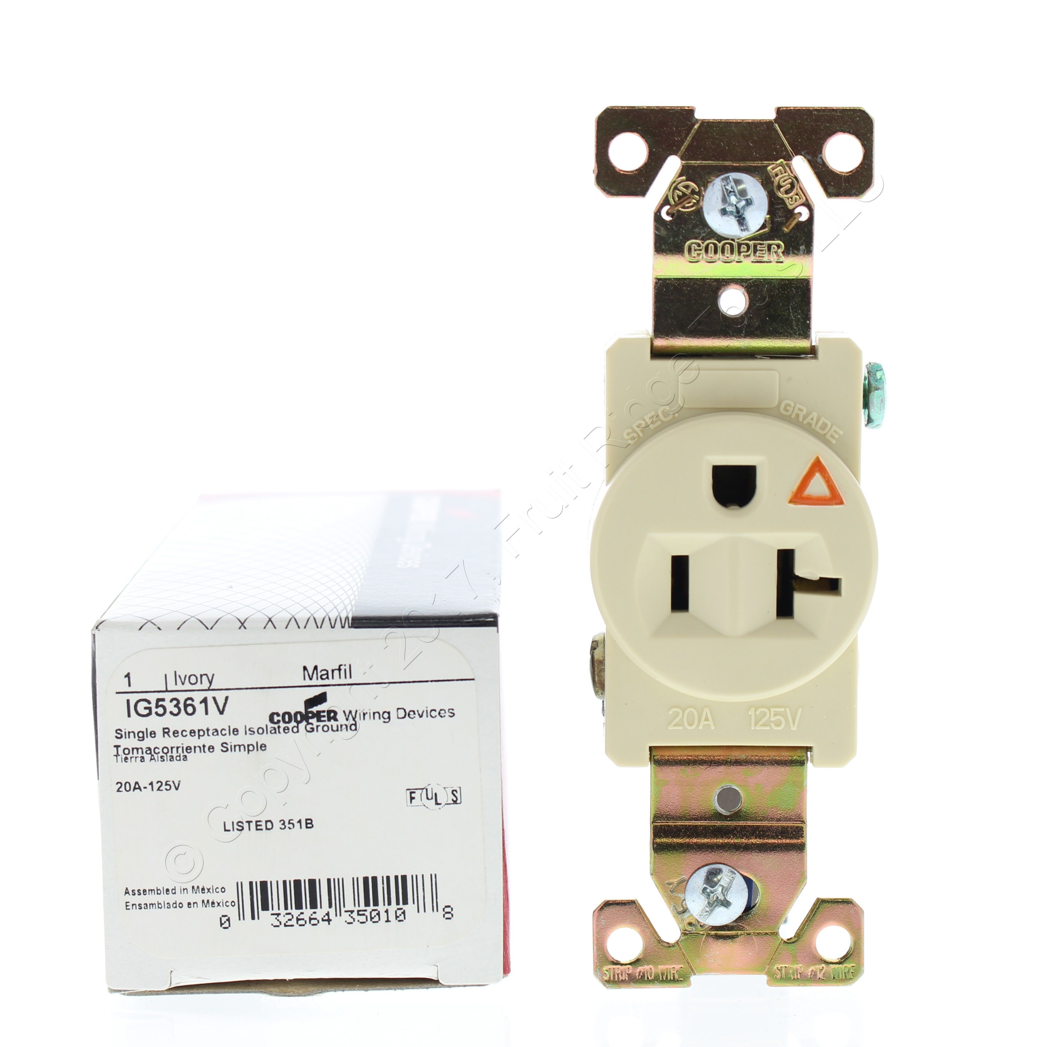 Groovy Cooper Ivory Industrial Grade Single Receptacle 5 20R 20A 125V 2P3W Wiring Cloud Hisonuggs Outletorg