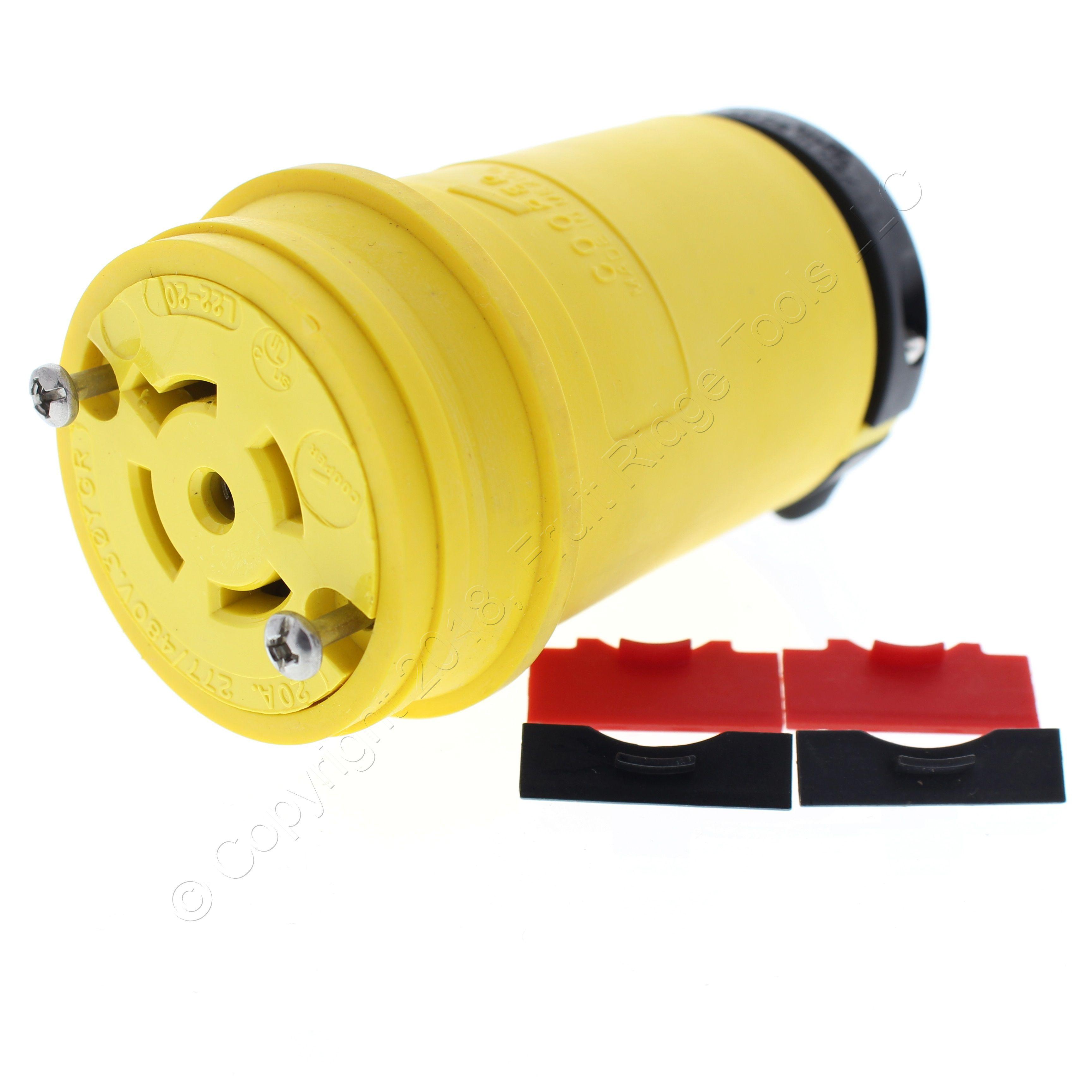 Cooper Black Watertight Back Wire Locking Plug L14-30P 30A 125 250V 3P4W L1430PW