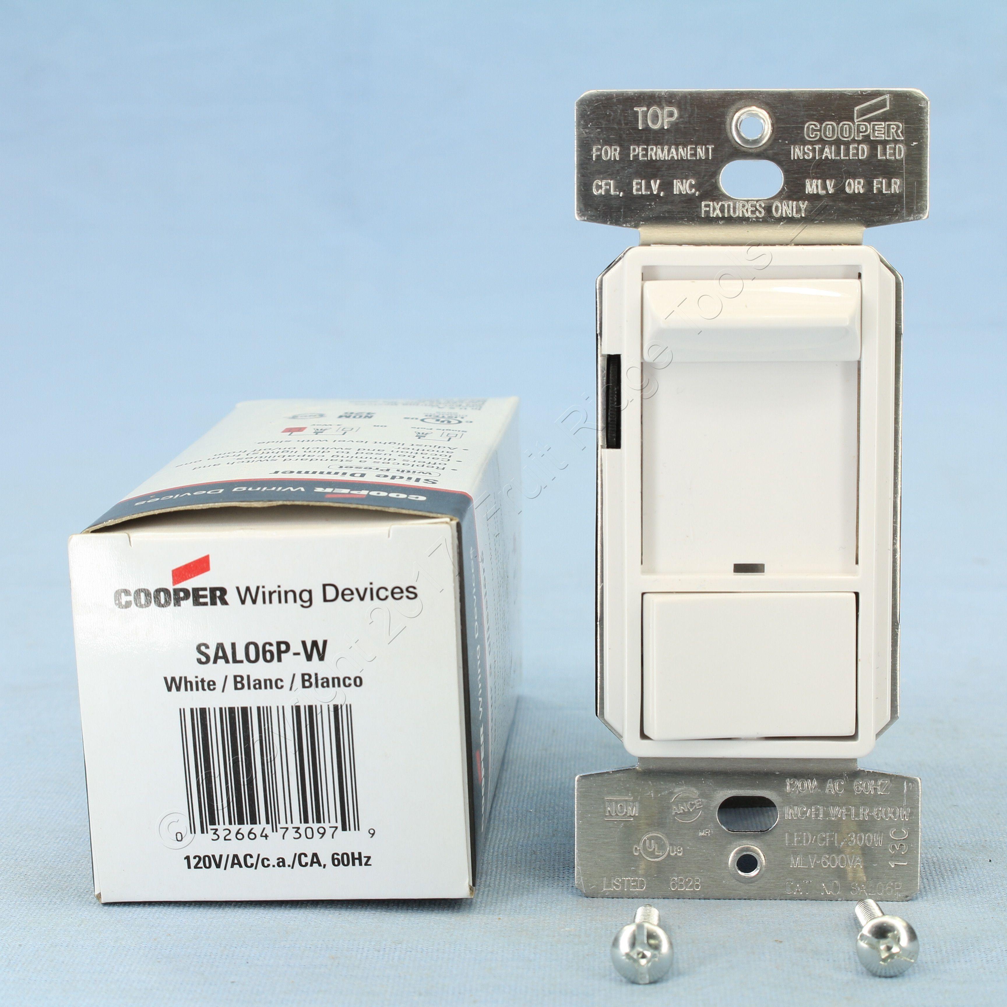 cooper white rapid start slide dimmer switch 120v 300w 3 way single