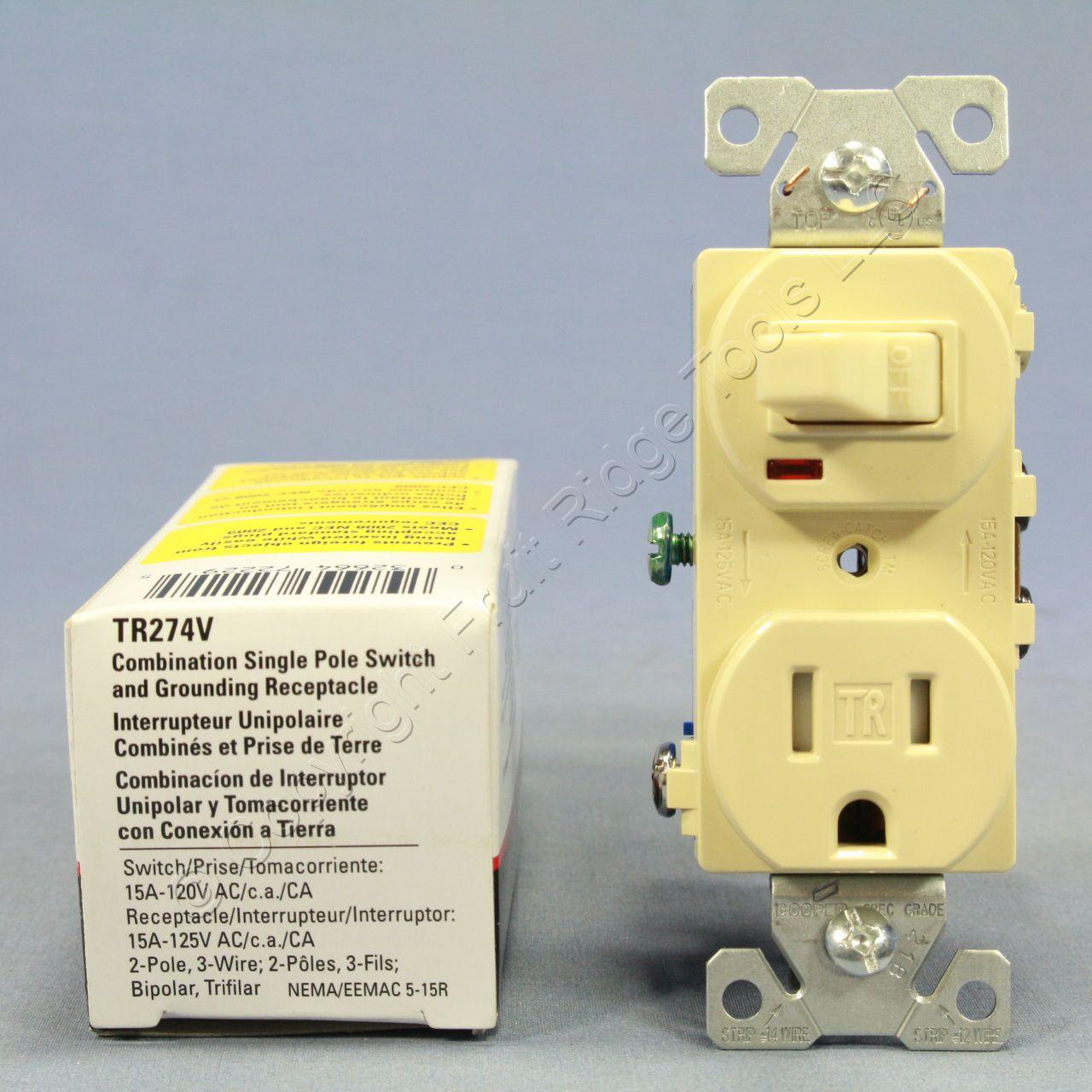 Cooper Ivory Tamper Resistant Pilot Light Switch Outlet