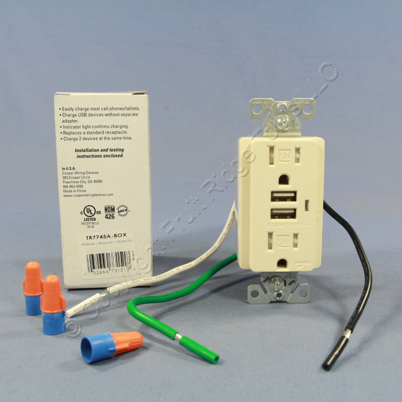 Excellent Cooper Almond Tamper Resistant Combination Duplex Receptacle Outlet Usb Charger Nema 5 15R 15A 125V Tr7745A Wiring 101 Tzicihahutechinfo