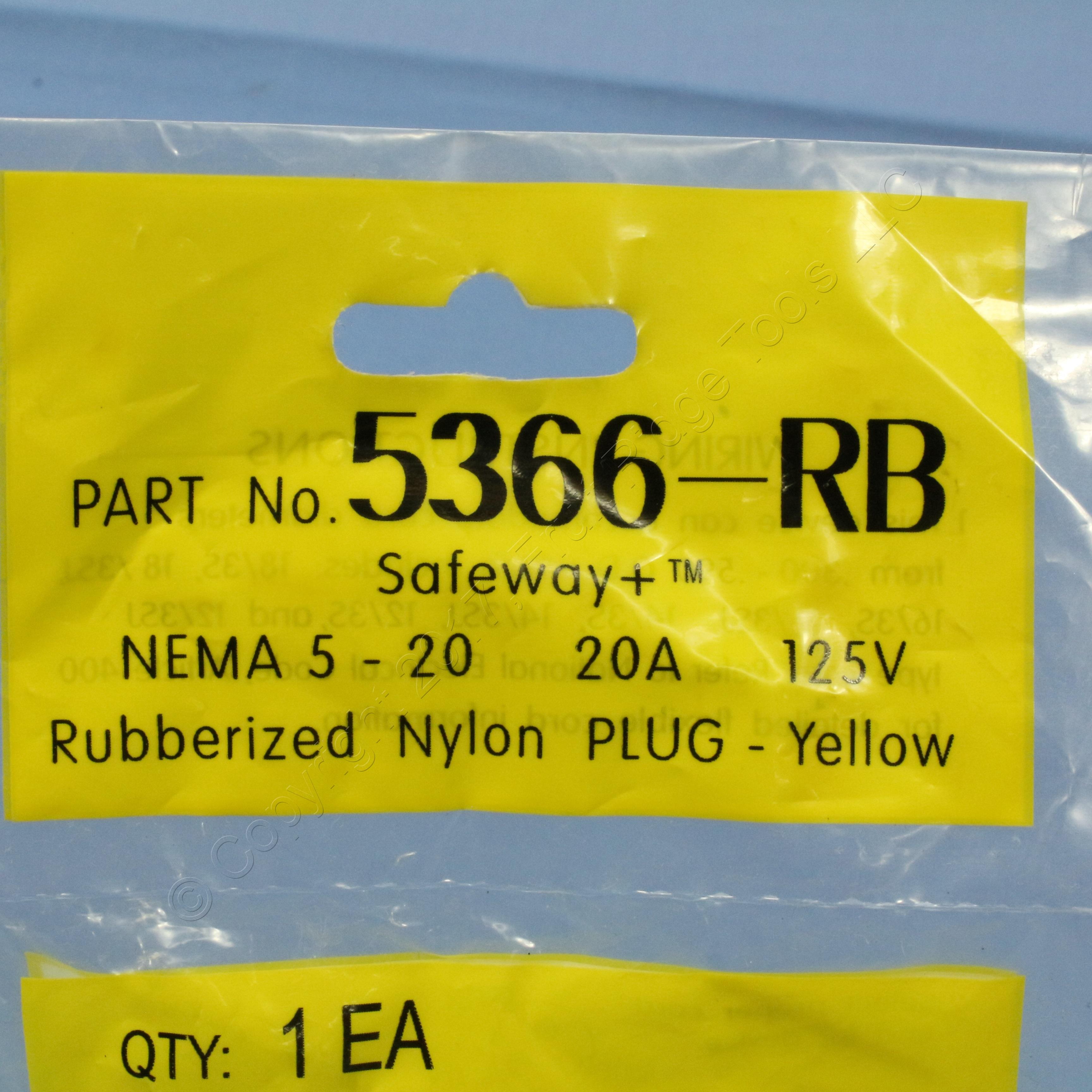 Daniel Woodhead 5366 Safeway Plug NEMA 5-20 20A 125V
