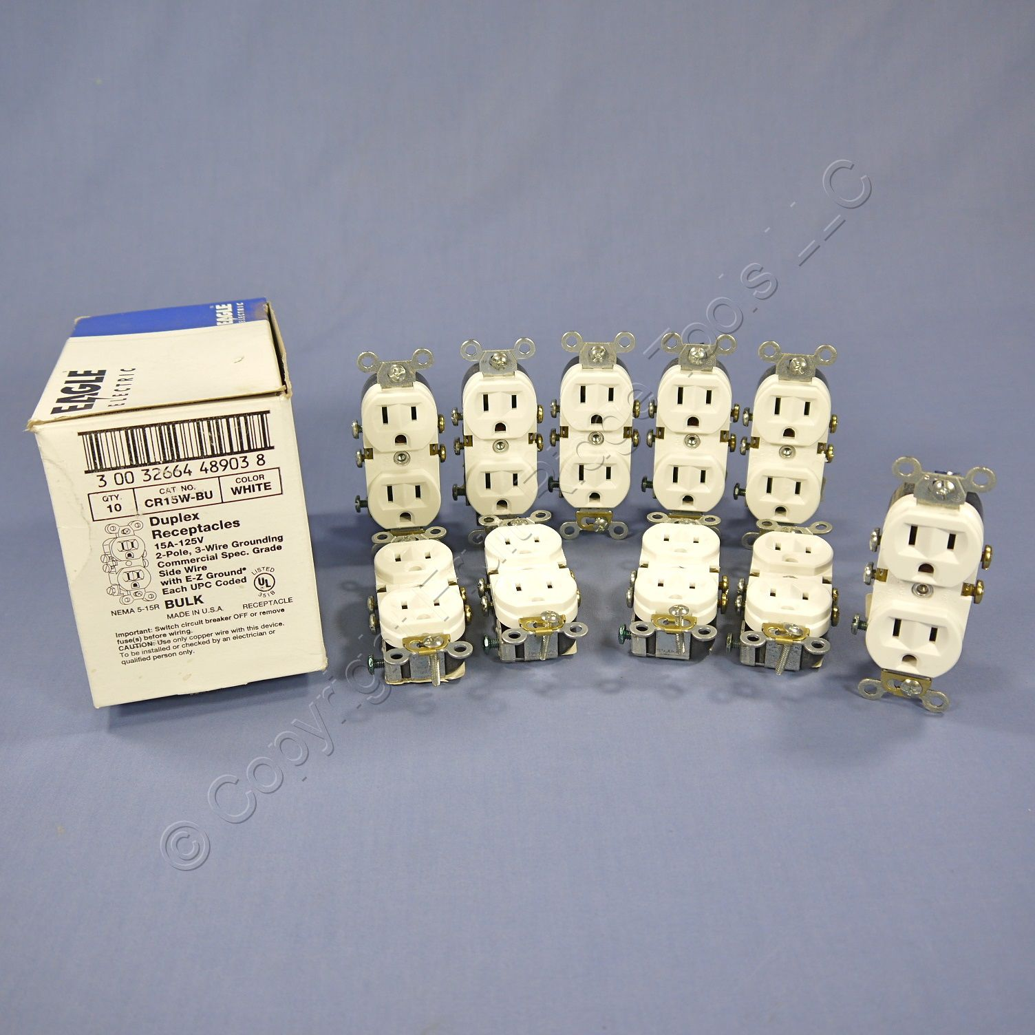 10 Eagle White COMMERCIAL Straight Blade Outlet Receptacles NEMA 5 ...