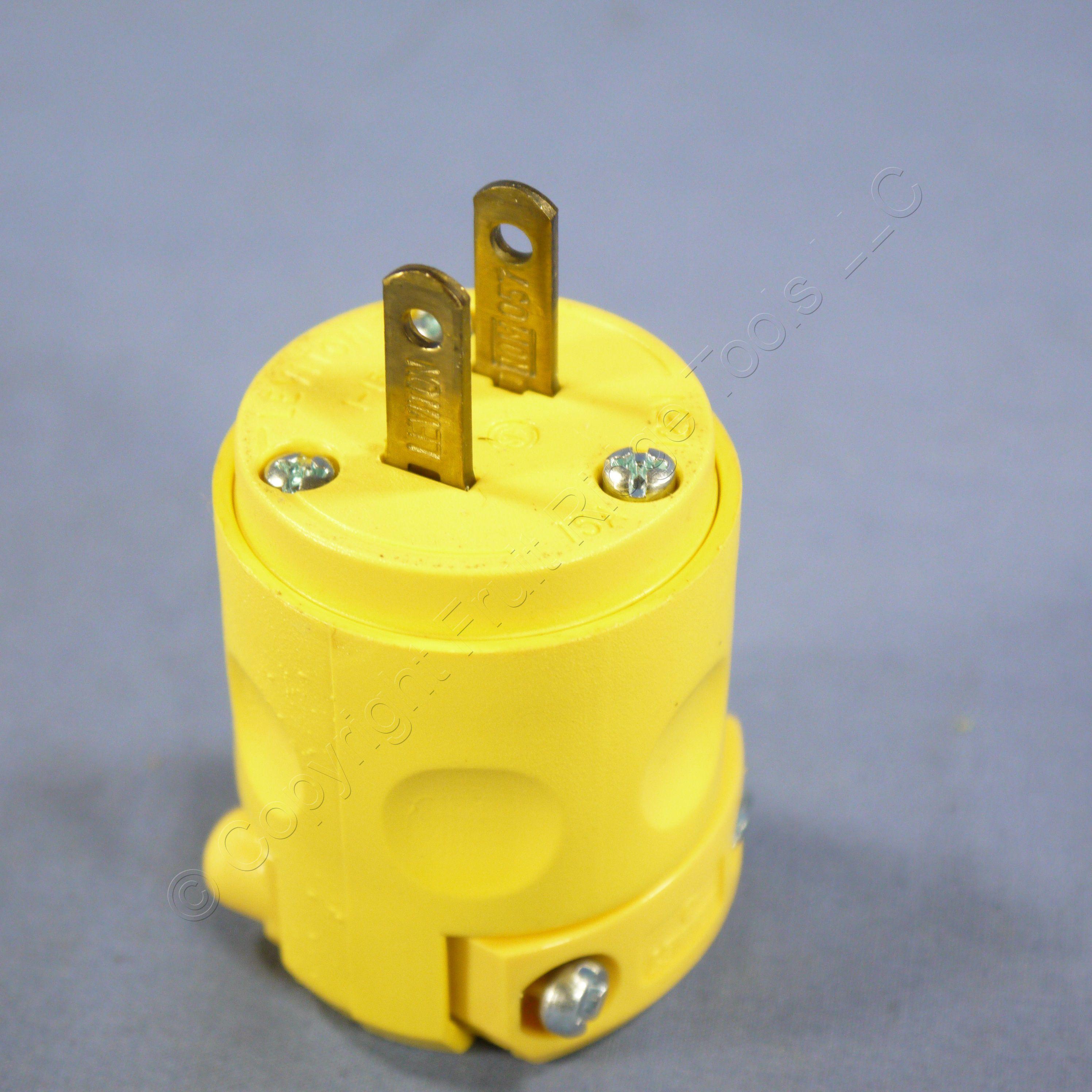 New Leviton Non-Polarized Yellow PVC Cord End Plug Non-Grounding 1 ...