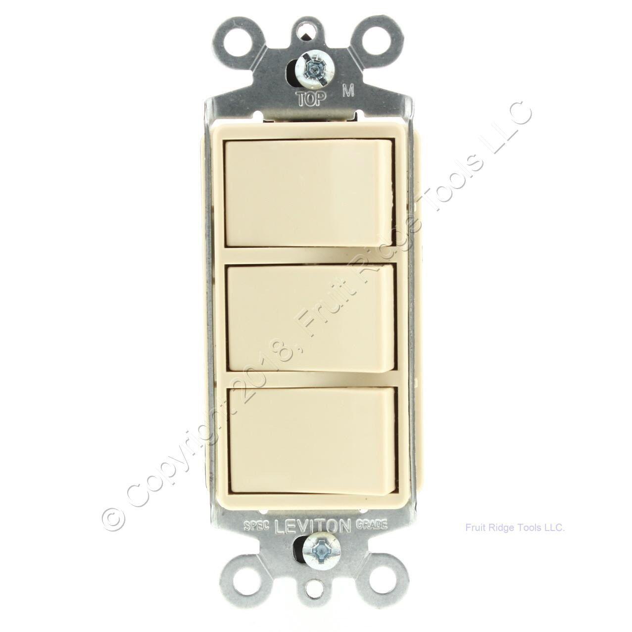 Leviton Ivory Decora Triple Rocker Single Pole Light Switch Triplex ...