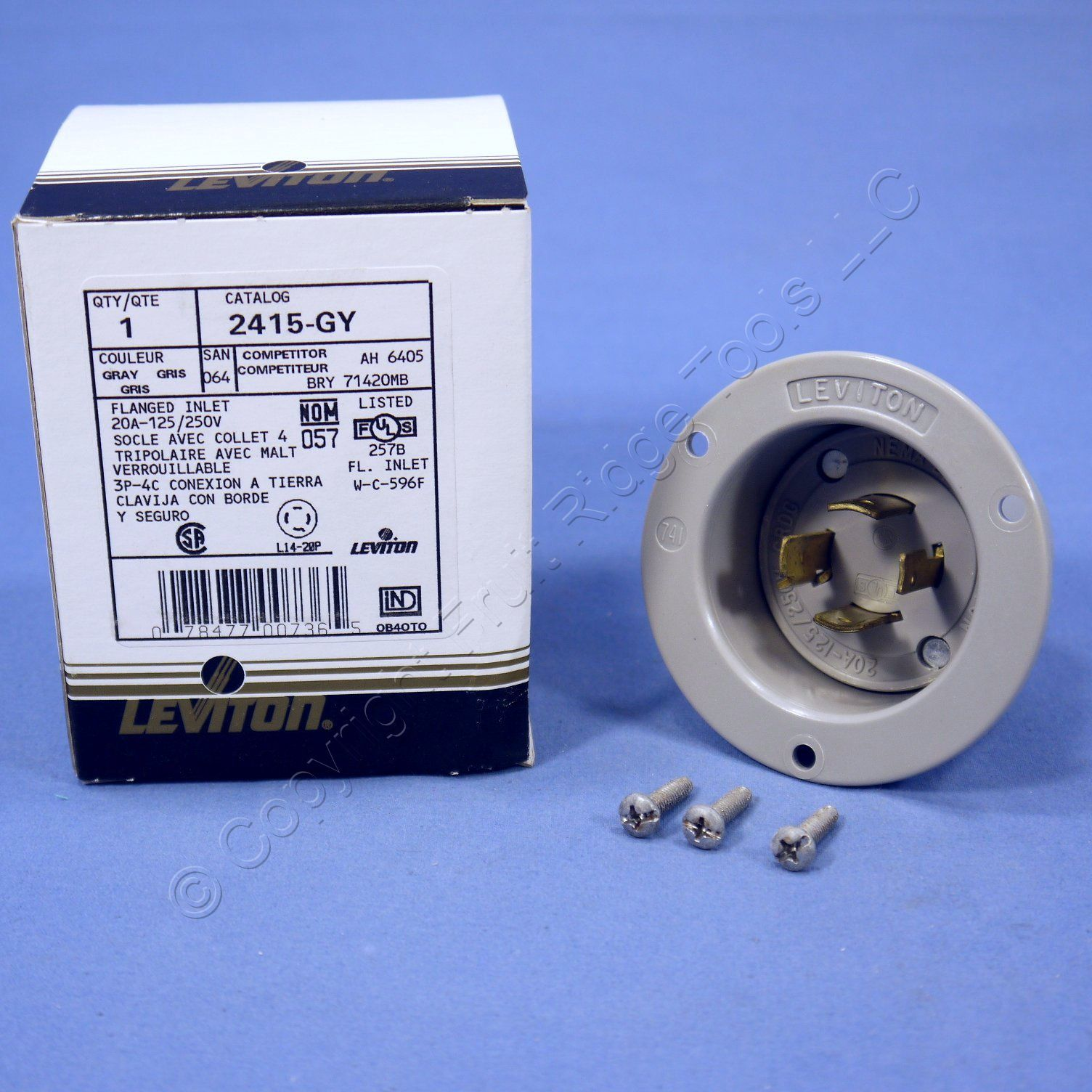 Leviton Gray L14 20p Locking Flanged Inlet Turn Twist Plug 20a 125 Wiring Diagram 250v 2415 Gy