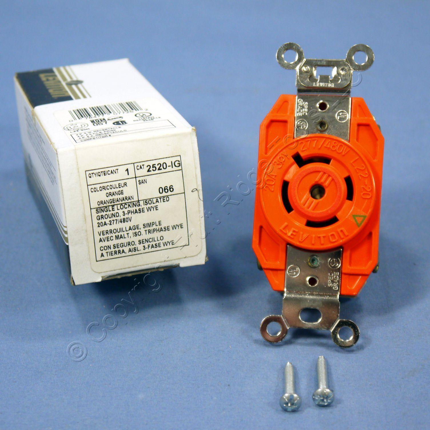 leviton l22-20r locking receptacle v0 outlet 20a 277/480v 3�y 2520-ig-066  boxed