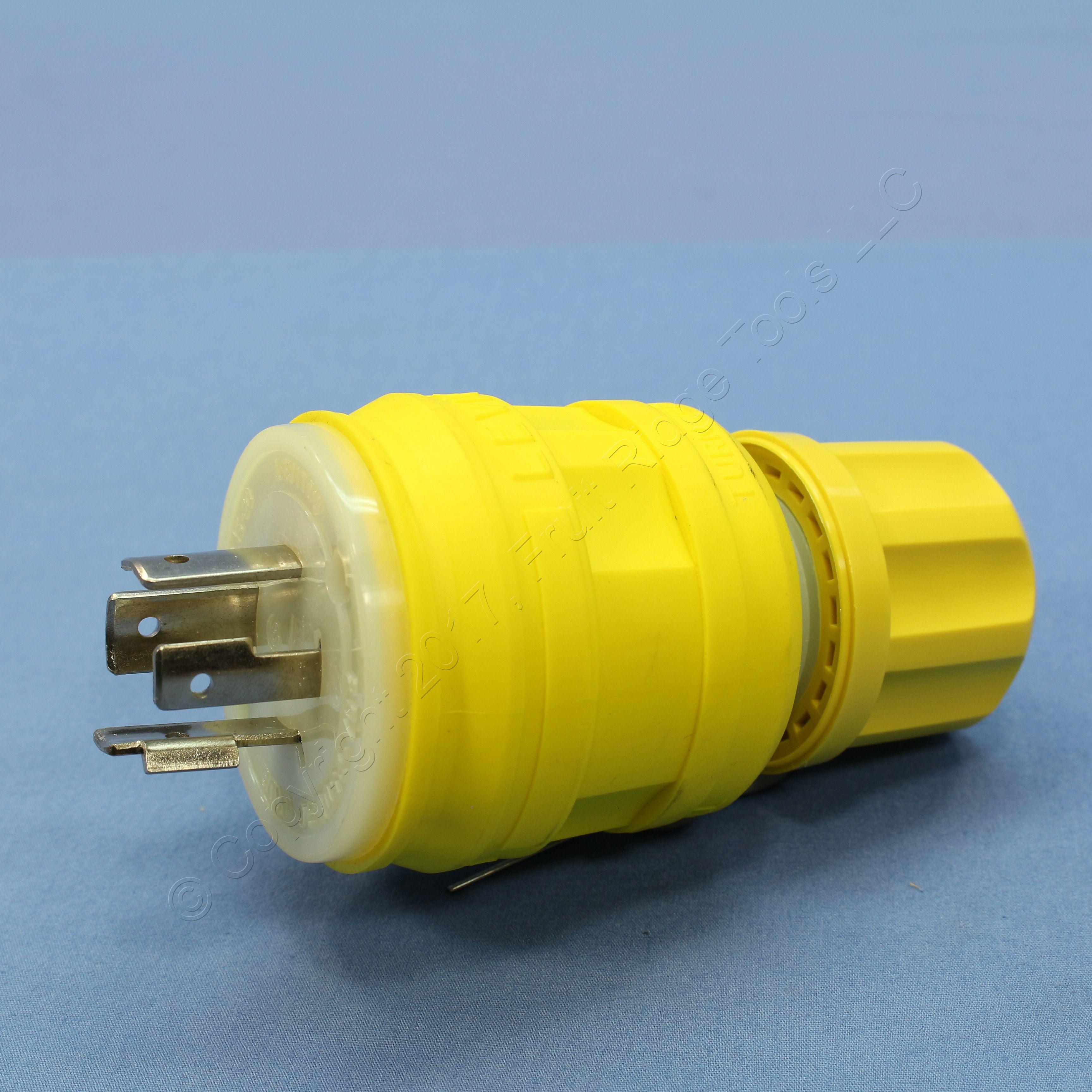 Leviton Yellow Wetguard Twist Turn Locking Plug Nema L15