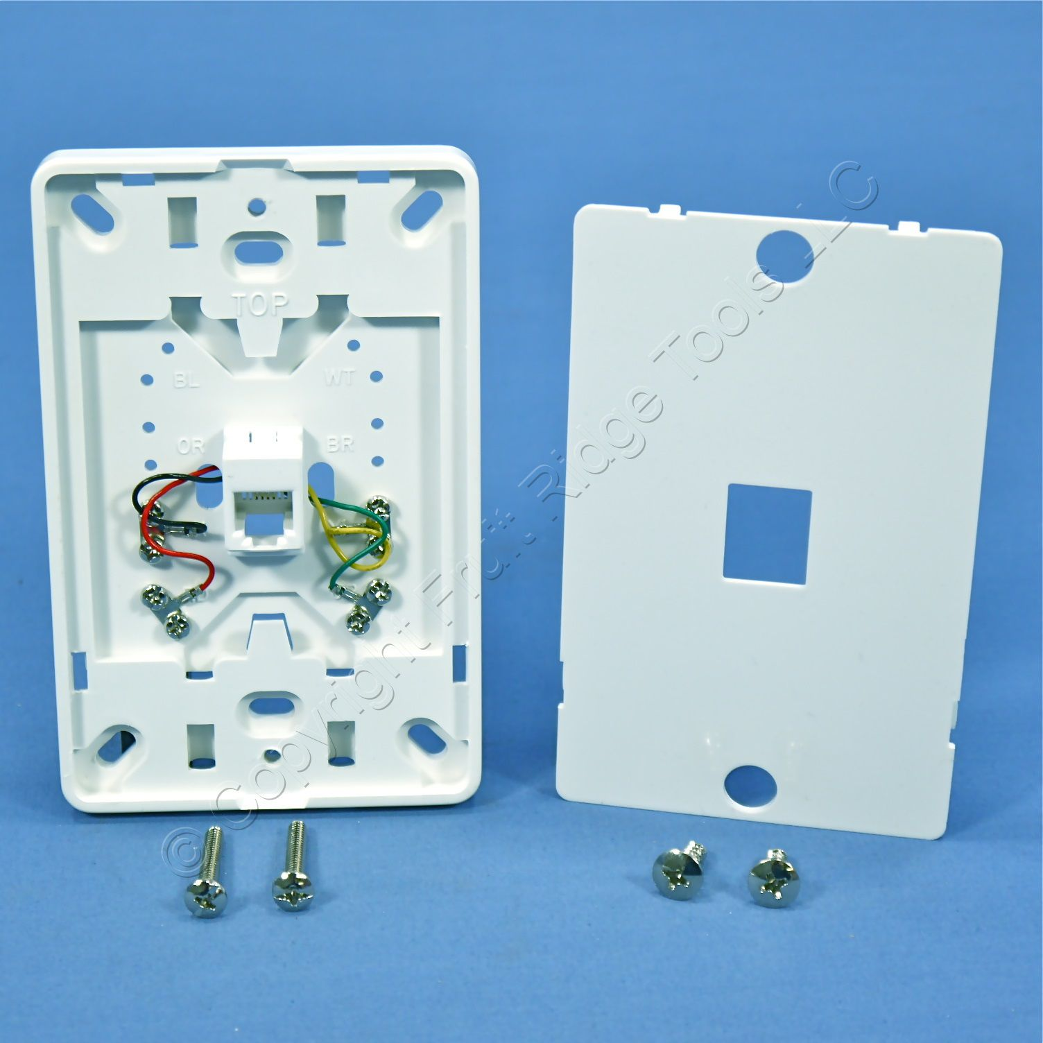 Leviton White Phone Jack Mounting Plate Wall Mount Type 630A ...