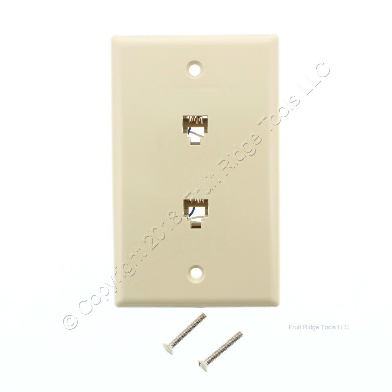 10 leviton ivory dual phone jack flush wallplates 6 wire. Black Bedroom Furniture Sets. Home Design Ideas