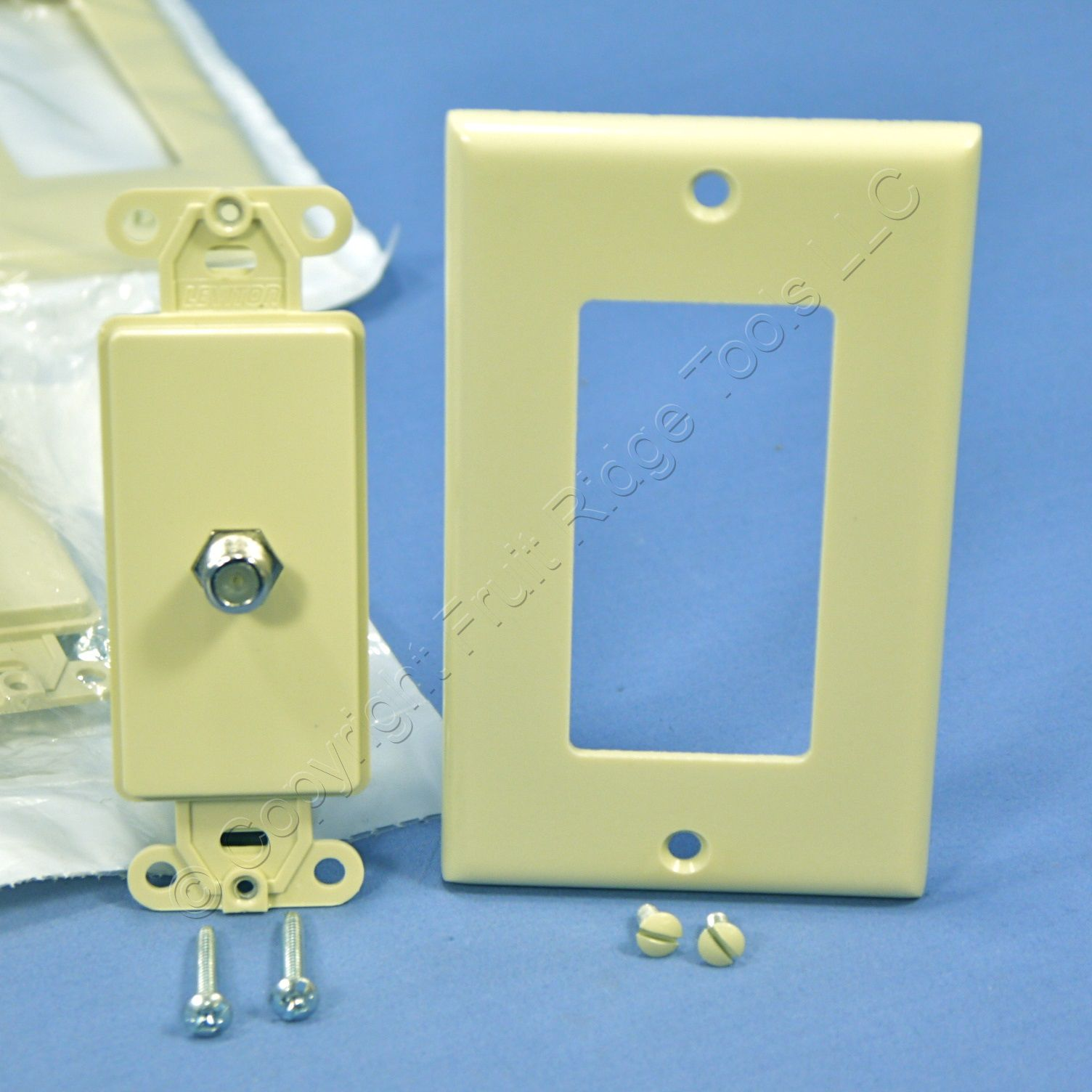 Buy 10 Ivory Leviton Decora Coaxial Cable CATV Wall Plate Video Jack ...