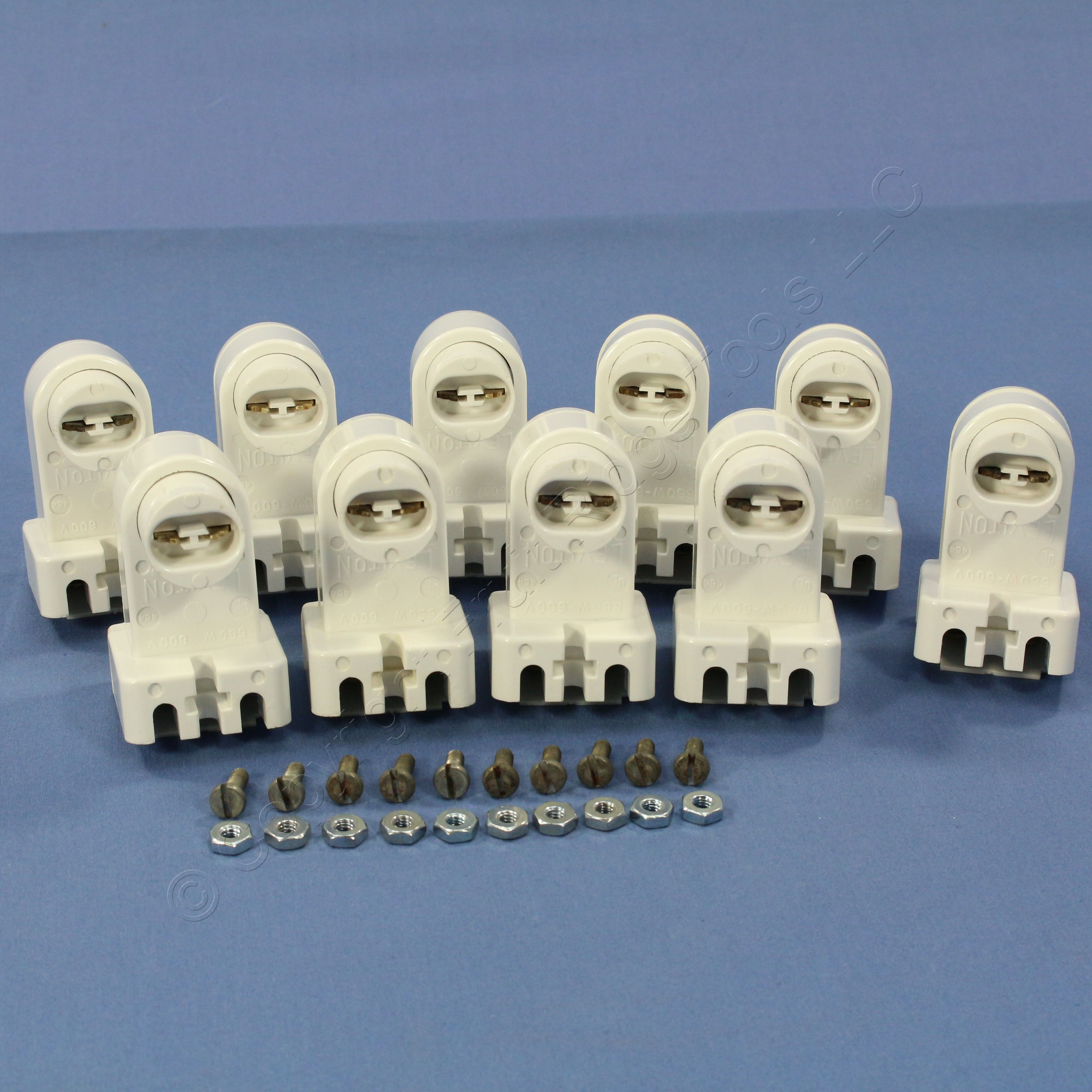 10 Leviton Fluorescent Lamp Socket 464 Recessed Contact HO New Old Stock