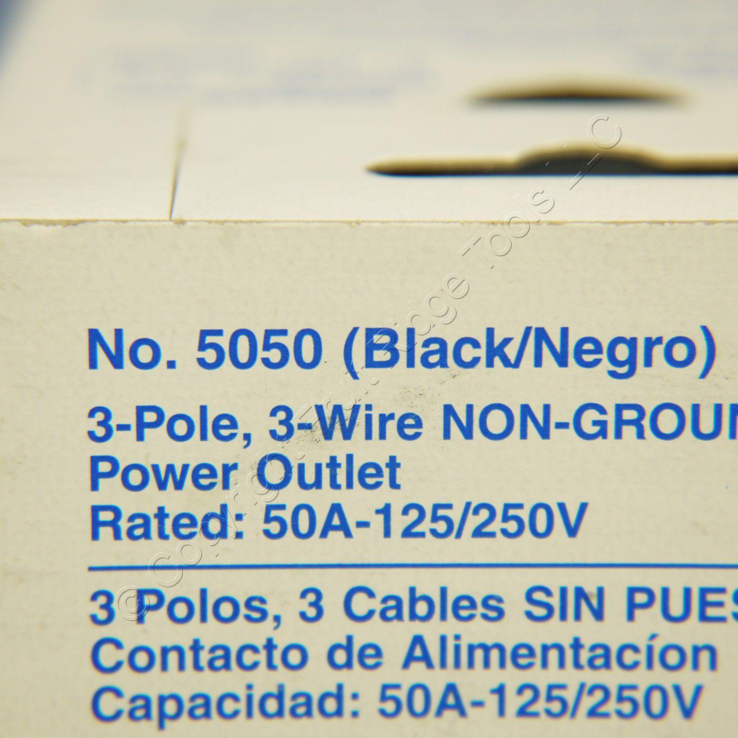 Leviton 50A NEMA 10-50R  Black 3 Pole Non-Grounding Range Power Outlet 5050
