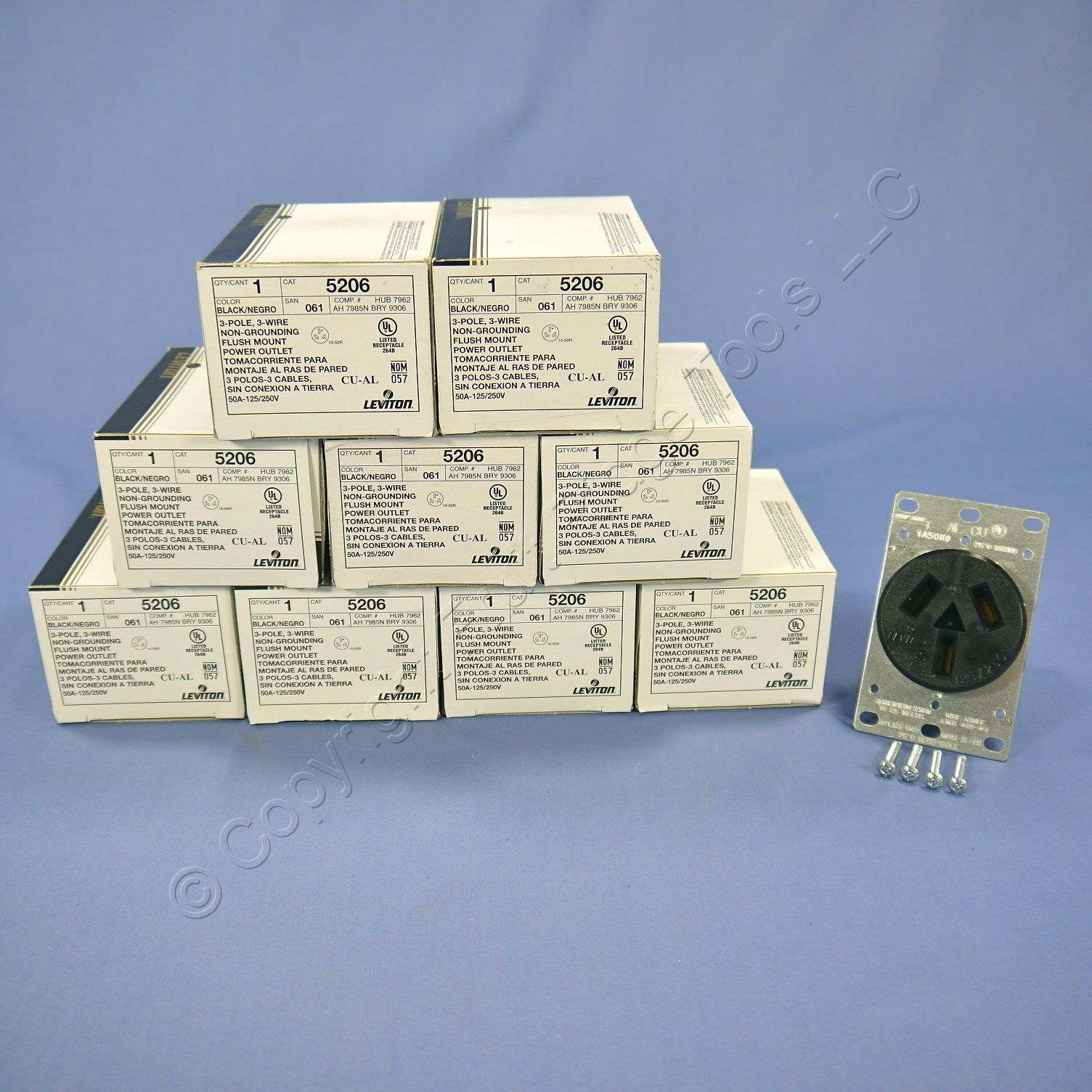 10 Leviton Dryer Range Power Outlet Receptacles NEMA 10-50R 50A 125 ...
