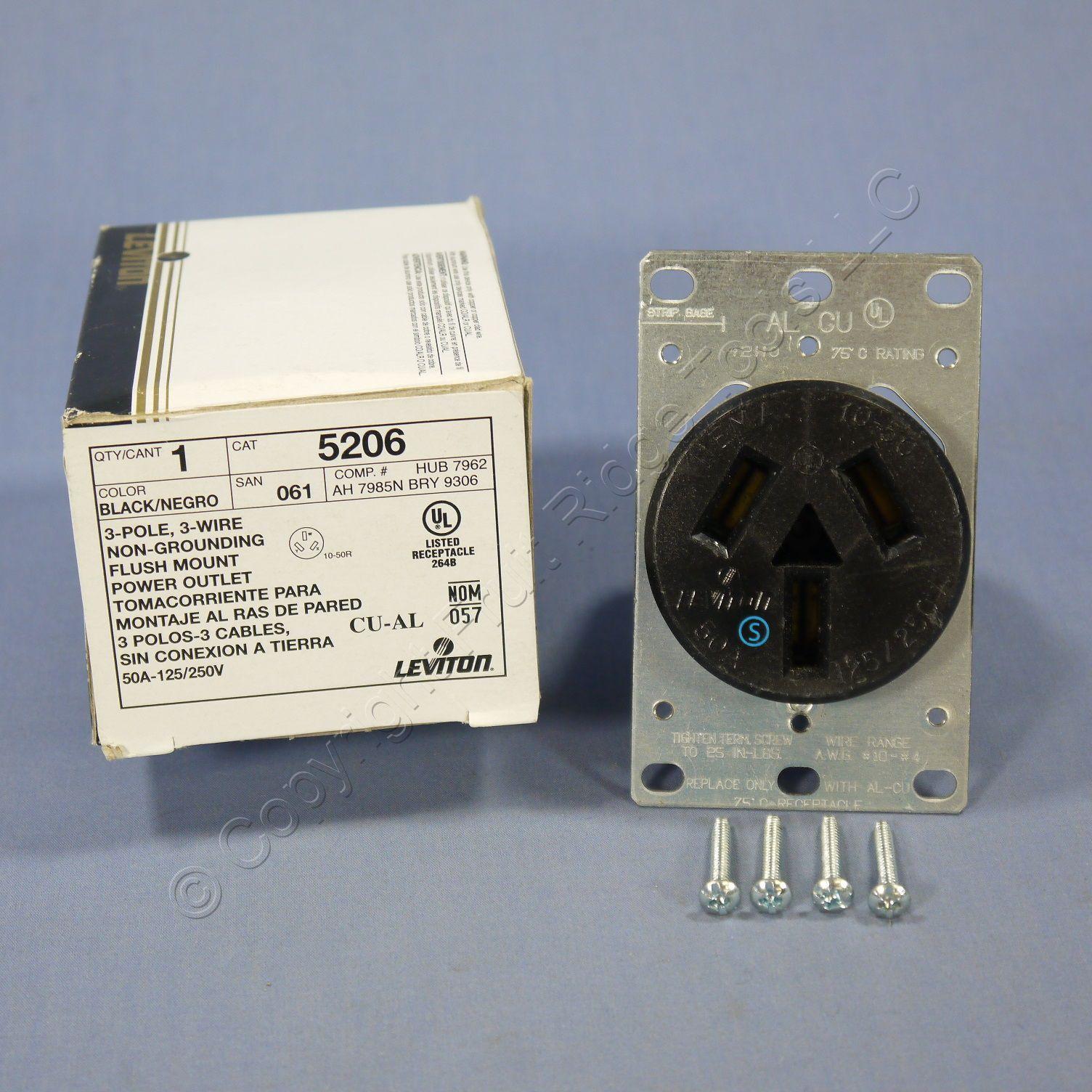 Buy Leviton Range Outlet Receptacle 10-50 50A 125/250V NEMA 10-50R ...