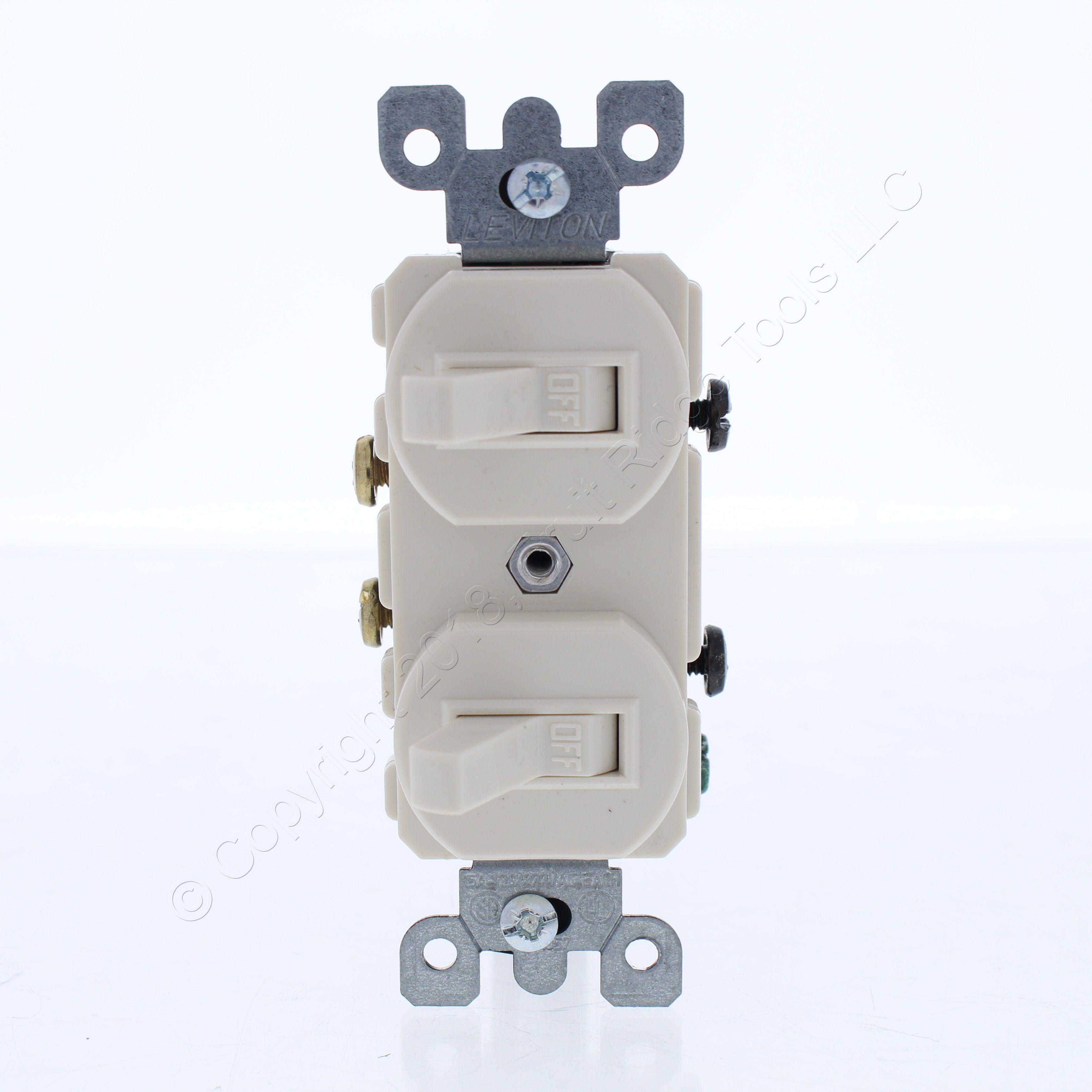 Image is loading Leviton-Lt-Almond-Wall-Light-Switch-Single-Pole-