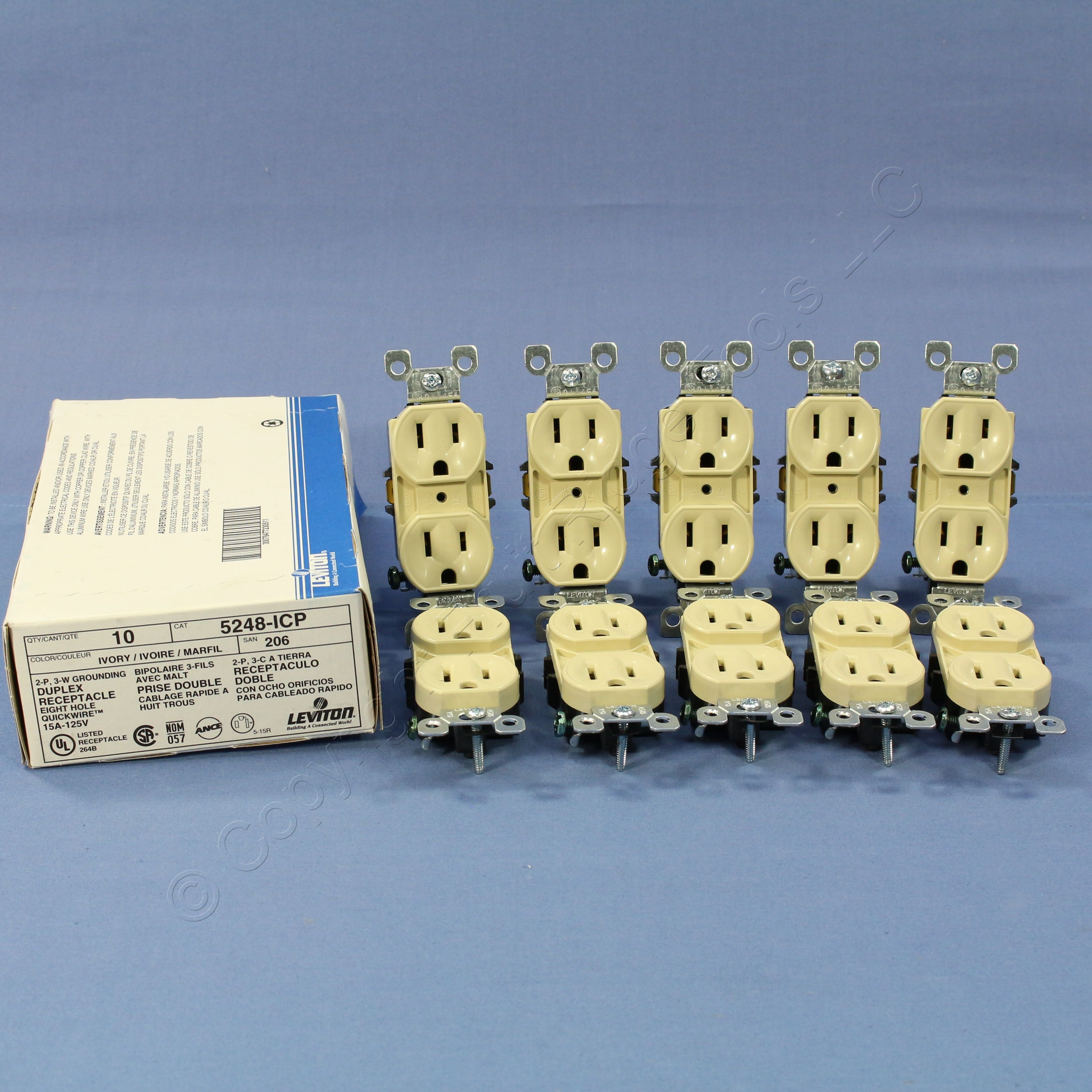 10 Leviton RESIDENTIAL Ivory Duplex Receptacle Outlets NEMA 5-15 15A ...