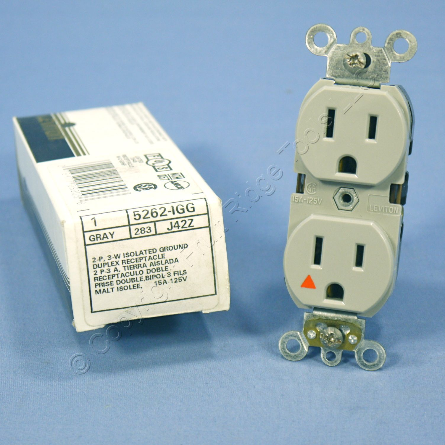 Leviton Gray Iso Ground Hospital Receptacle Duplex Outlet 15a 5262