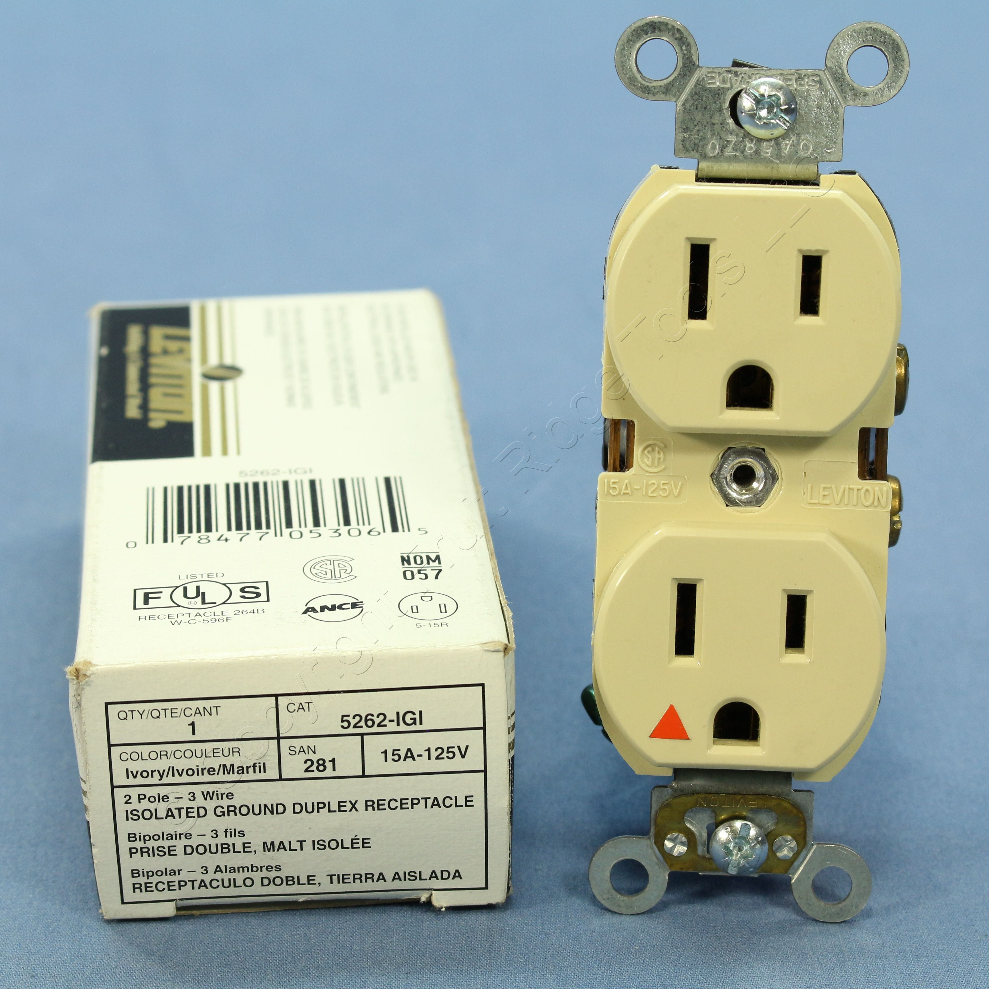 New Leviton Ivory ISOLATED GROUND Receptacle Outlet NEMA 5-15R 15A ...