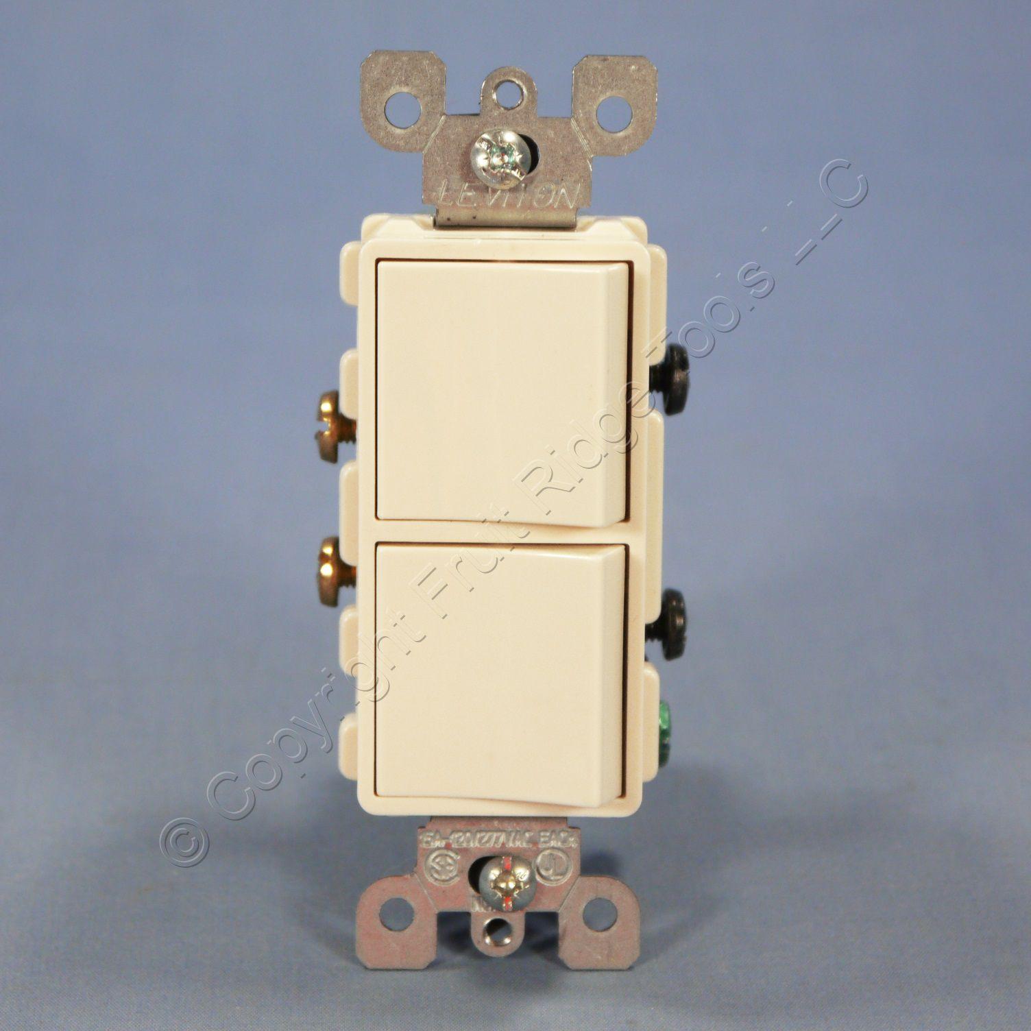 Leviton Almond Double Wall Light Switch Duplex Toggle 15A Single Pole 5224-2A