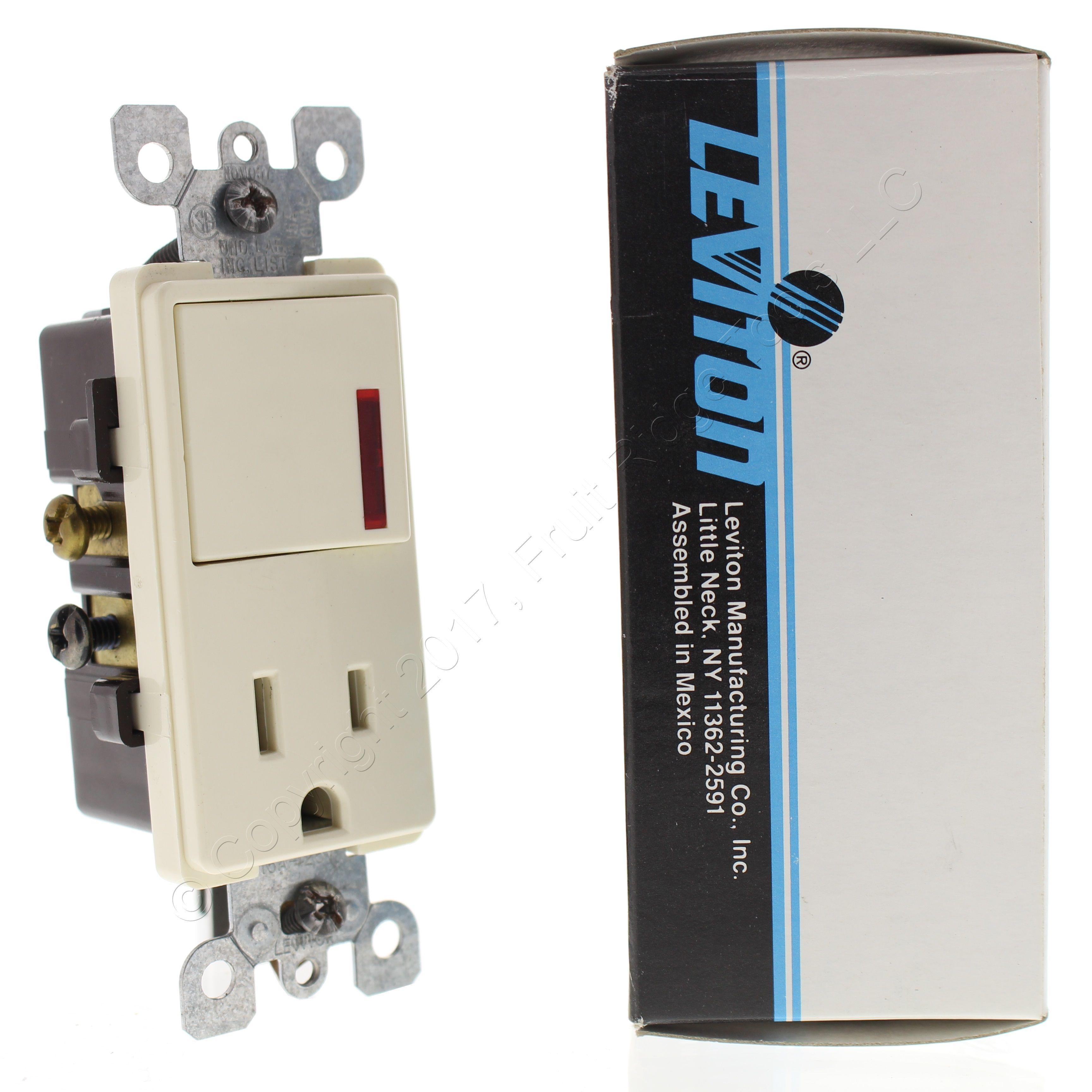 Buy Leviton Almond Decora Rocker Pilot Light Switch w/ 15A ...