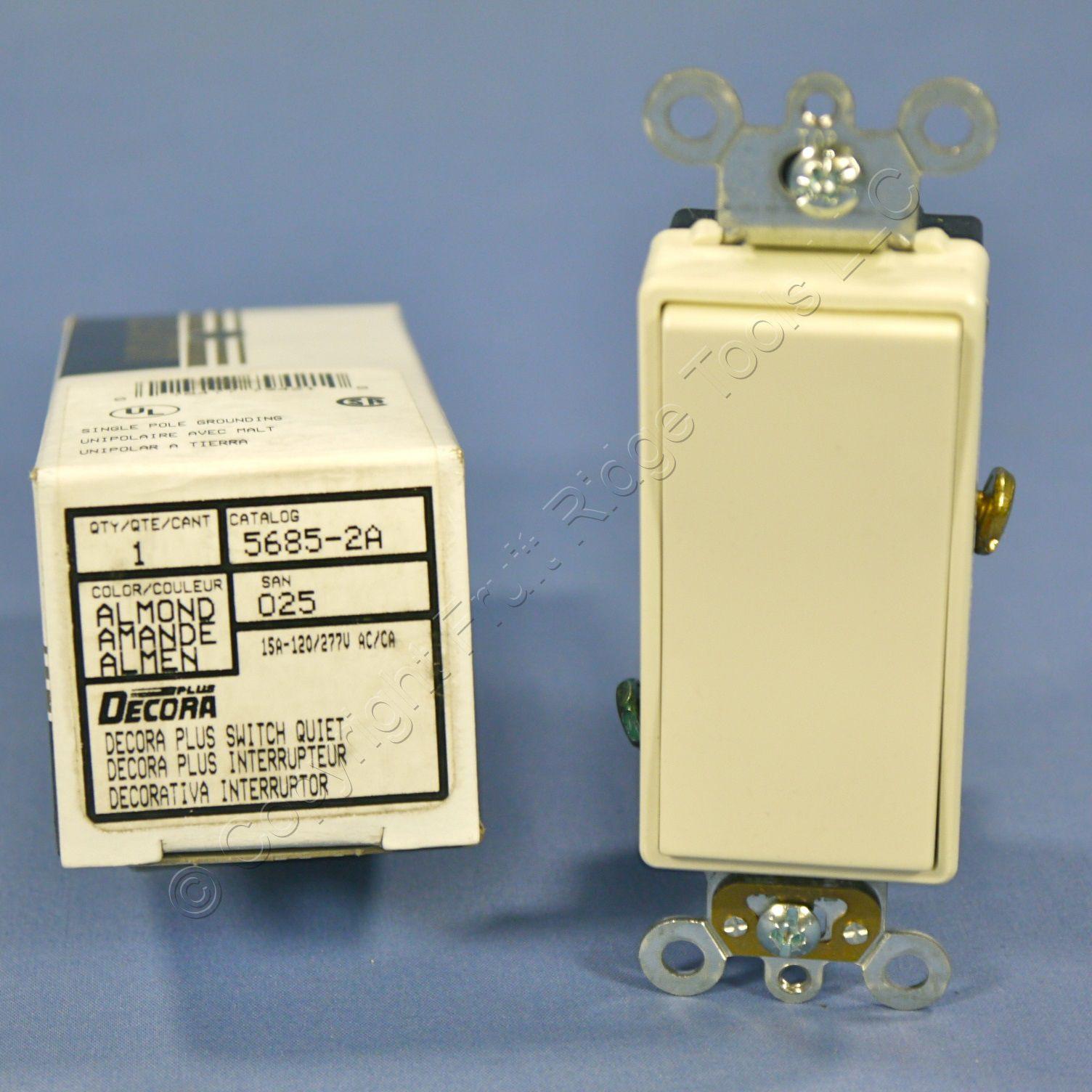 Leviton Almond Decora DUPLEX 1-Pole Rocker Light Switch Duplex 15A Bulk 5634-A
