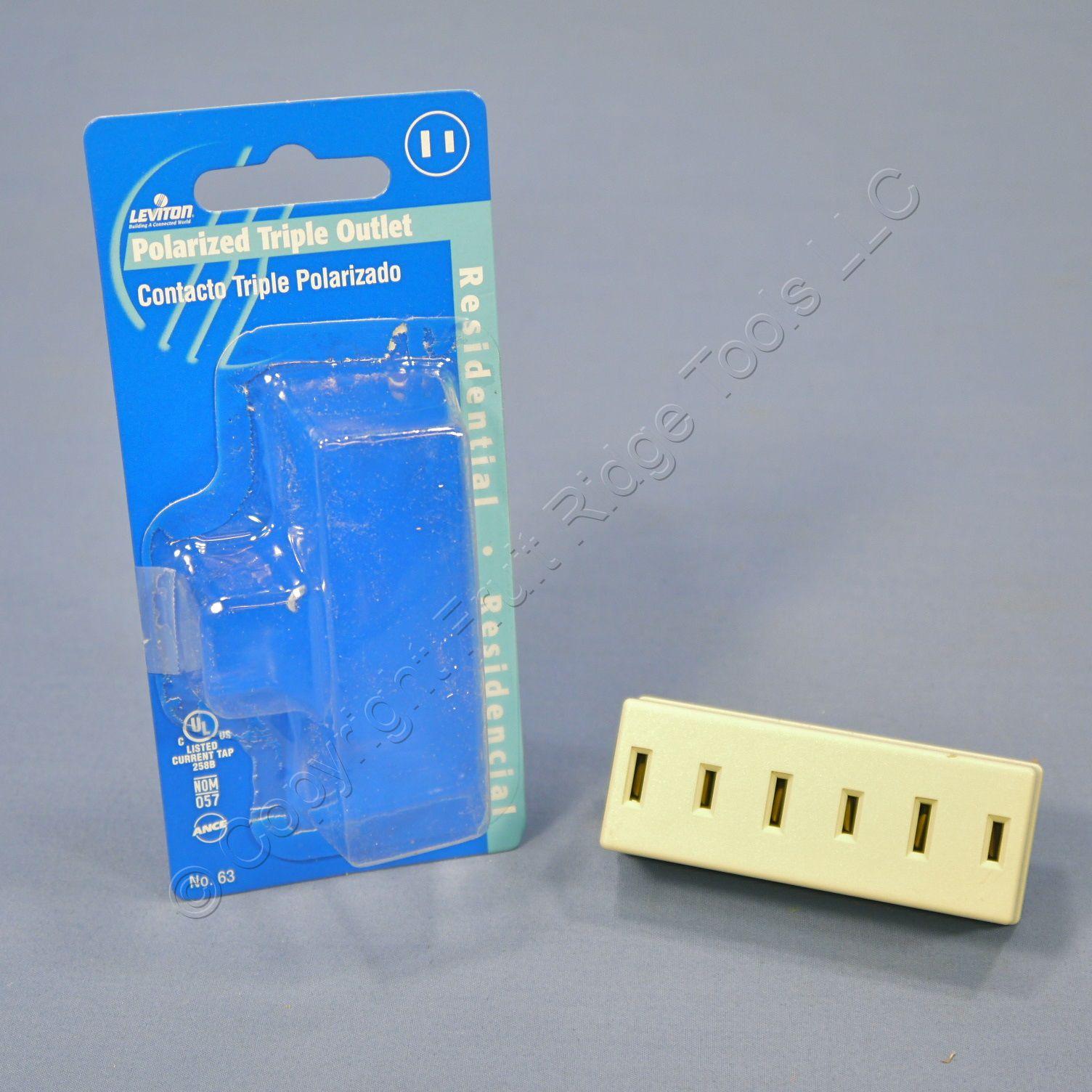 Leviton Brown Triple Tap Outlet Grounding Adapter 15A Power Splitter Bulk 698