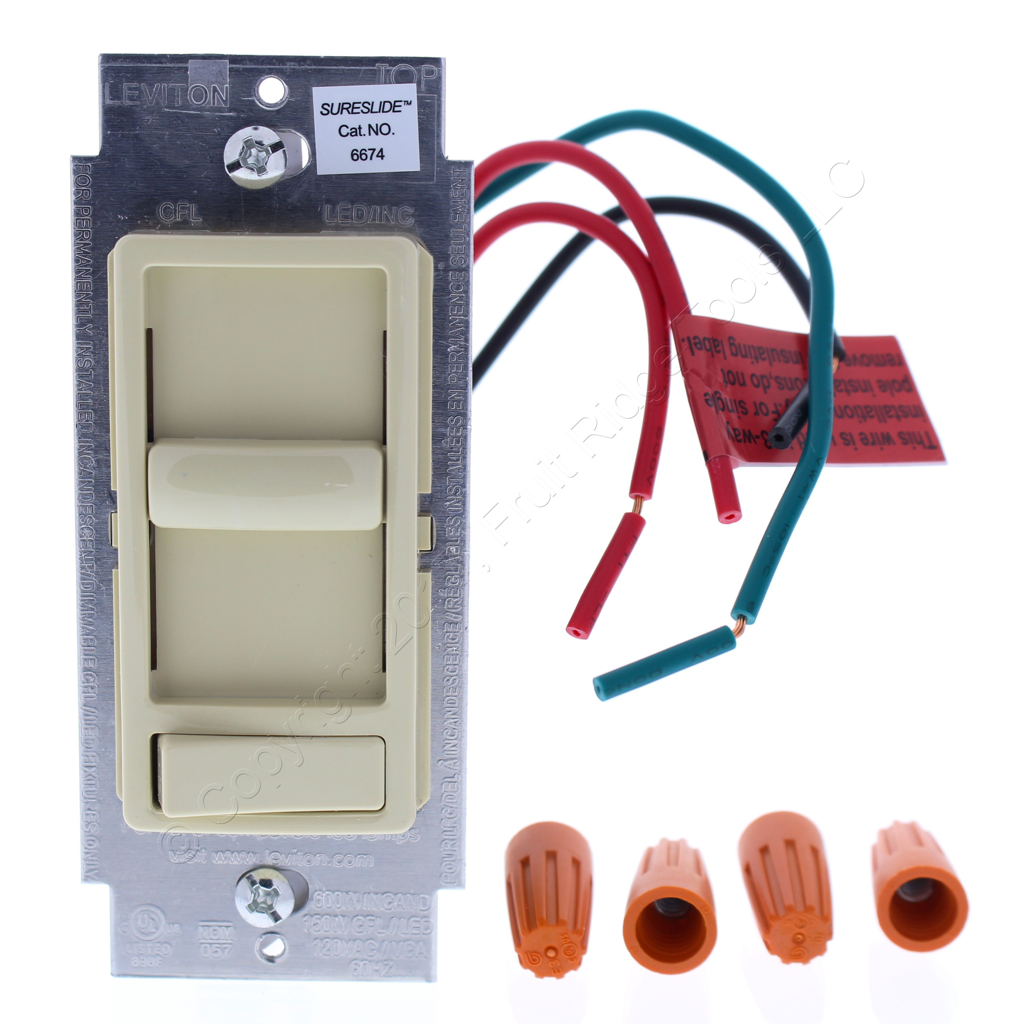 New Leviton Ivory Decora Slide Dimmer Switch Preset LED/CFL 3-Way ...